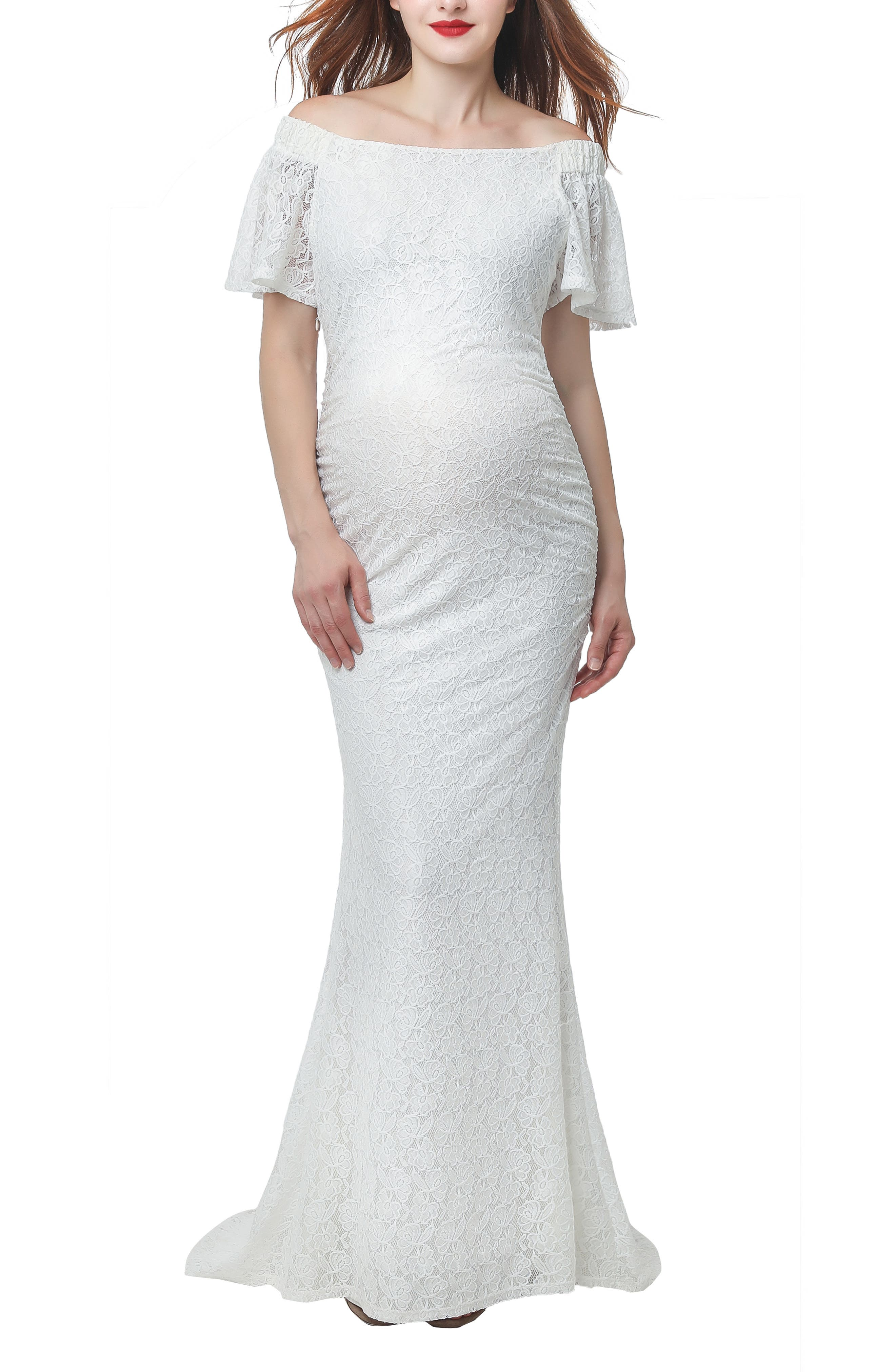 Kimi & Kai Eloise Convertible Off The Shoulder Maternity Wedding Dress