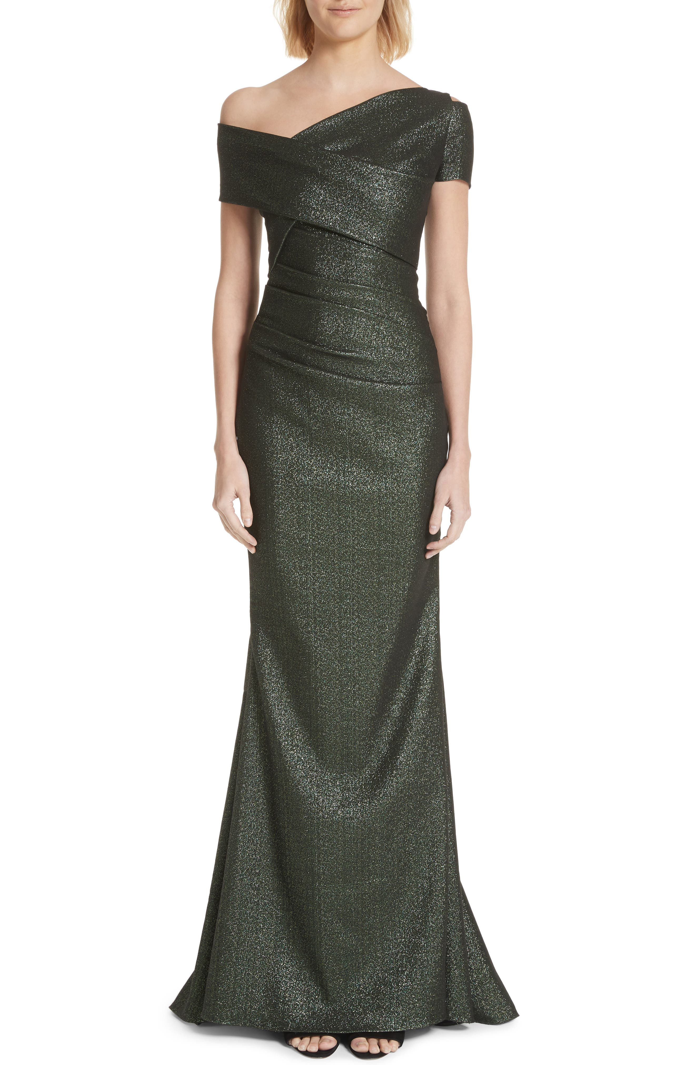 Talbot Runhof Glitter Knit Asymmetrical Mermaid Gown, Green