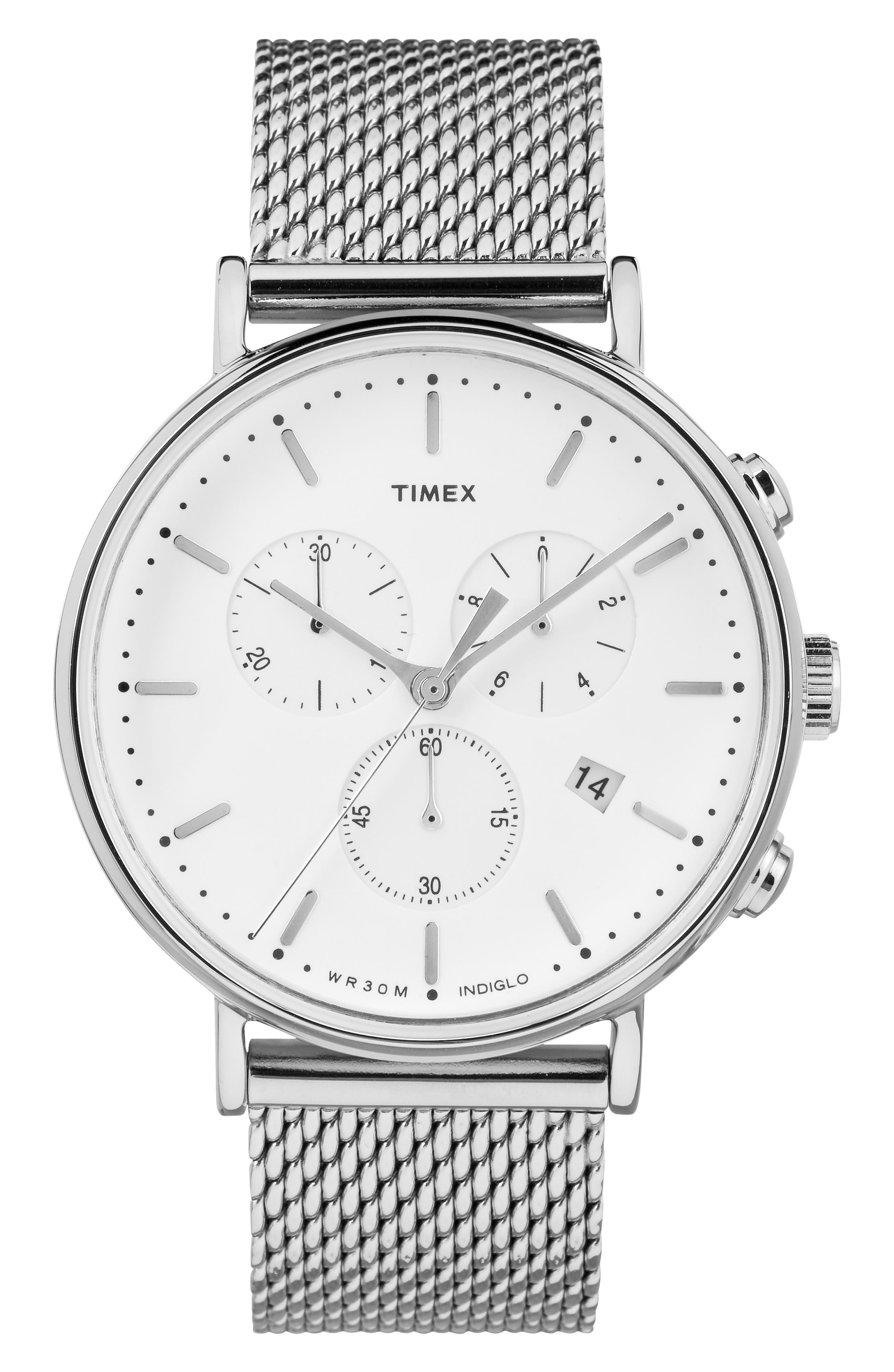 TIMEX<SUP>®</SUP>, Fairfield Chronograph Mesh Strap Watch, 41mm, Main thumbnail 1, color, SILVER/ WHITE/ SILVER