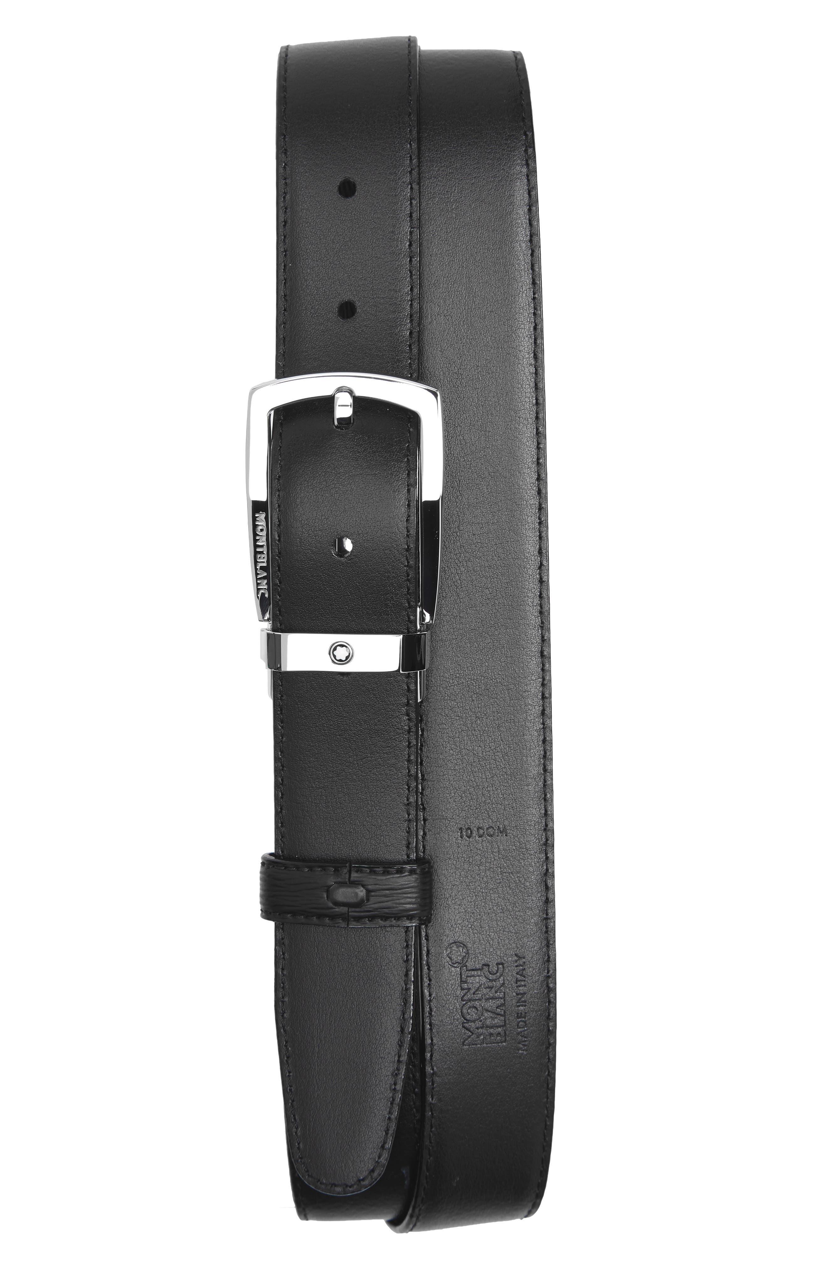 MONTBLANC, Westside Reversible Sartorial Leather Belt, Alternate thumbnail 2, color, BLACK