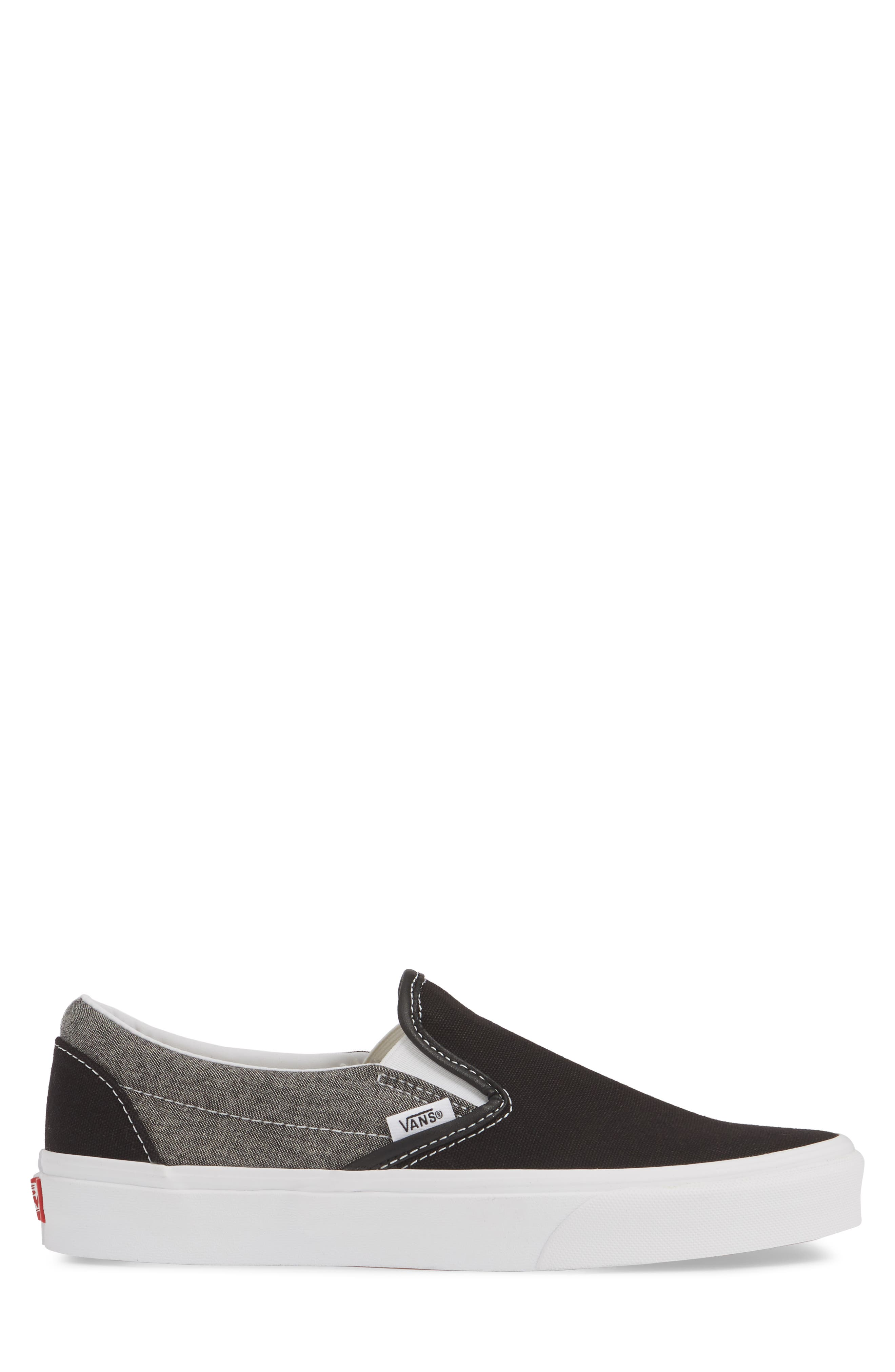 VANS, 'Classic' Slip-On Sneaker, Alternate thumbnail 3, color, CANVAS BLACK/ WHITE CHAMBRAY