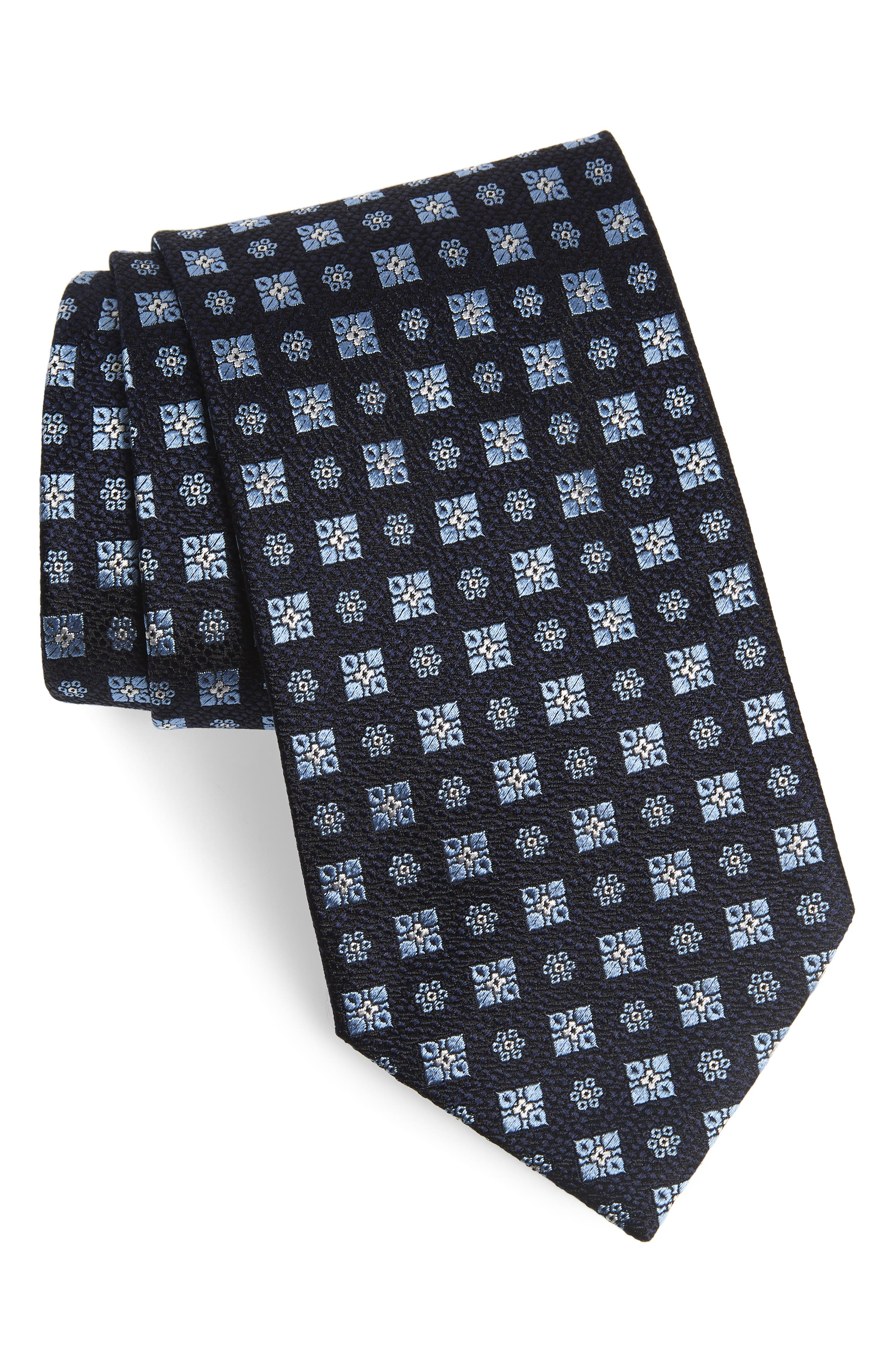 ERMENEGILDO ZEGNA, Medallion Silk X-Long Tie, Main thumbnail 1, color, BLUE