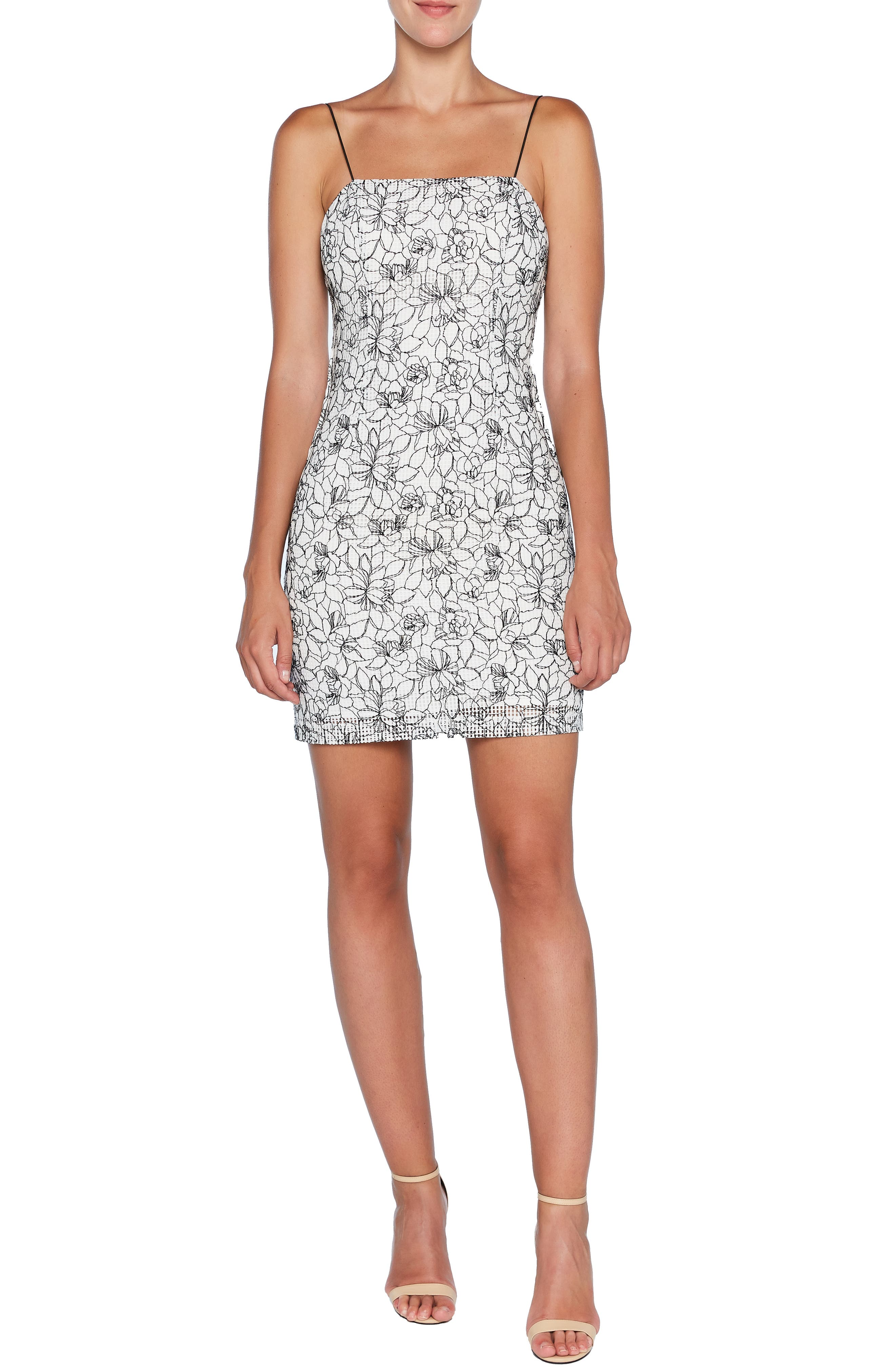 Angie Floral Jacquard Sheath Minidress by Bardot