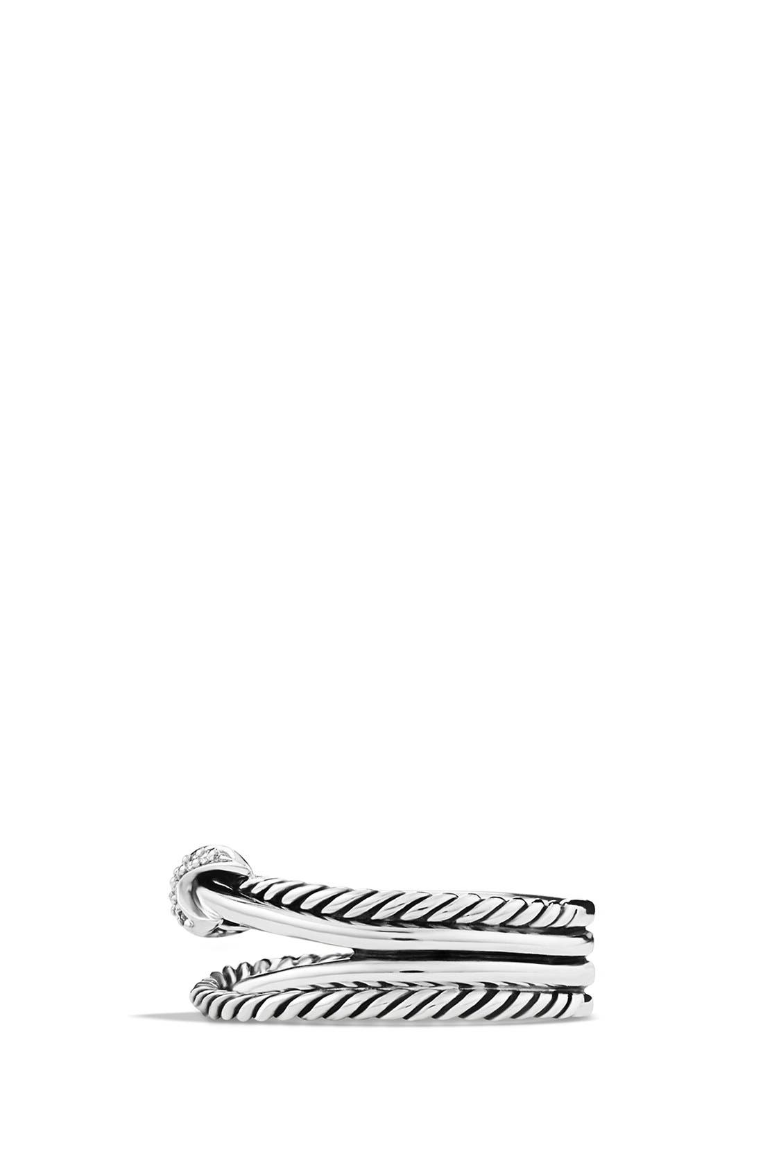 DAVID YURMAN, 'X Crossover' Ring with Diamonds, Alternate thumbnail 4, color, DIAMOND
