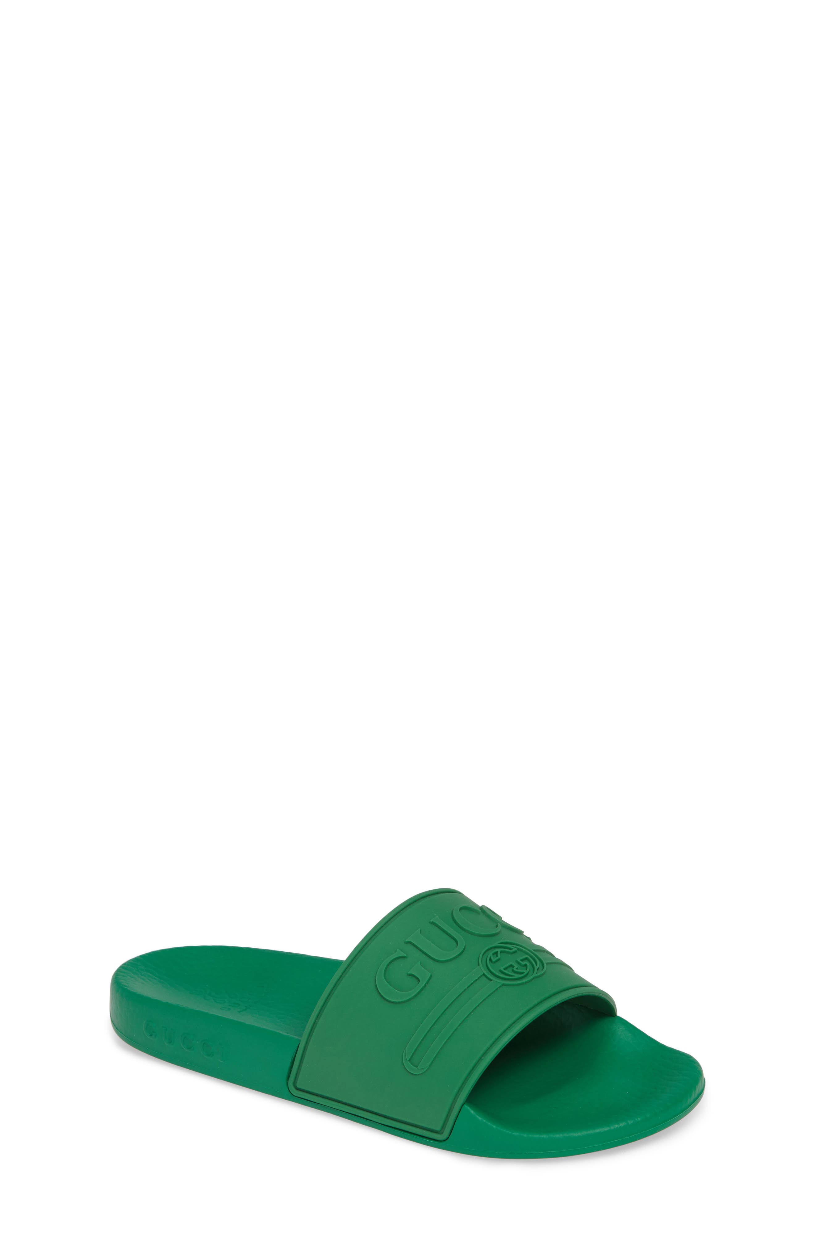 GUCCI, Pursuit Logo Slide Sandal, Main thumbnail 1, color, SHAMROCK