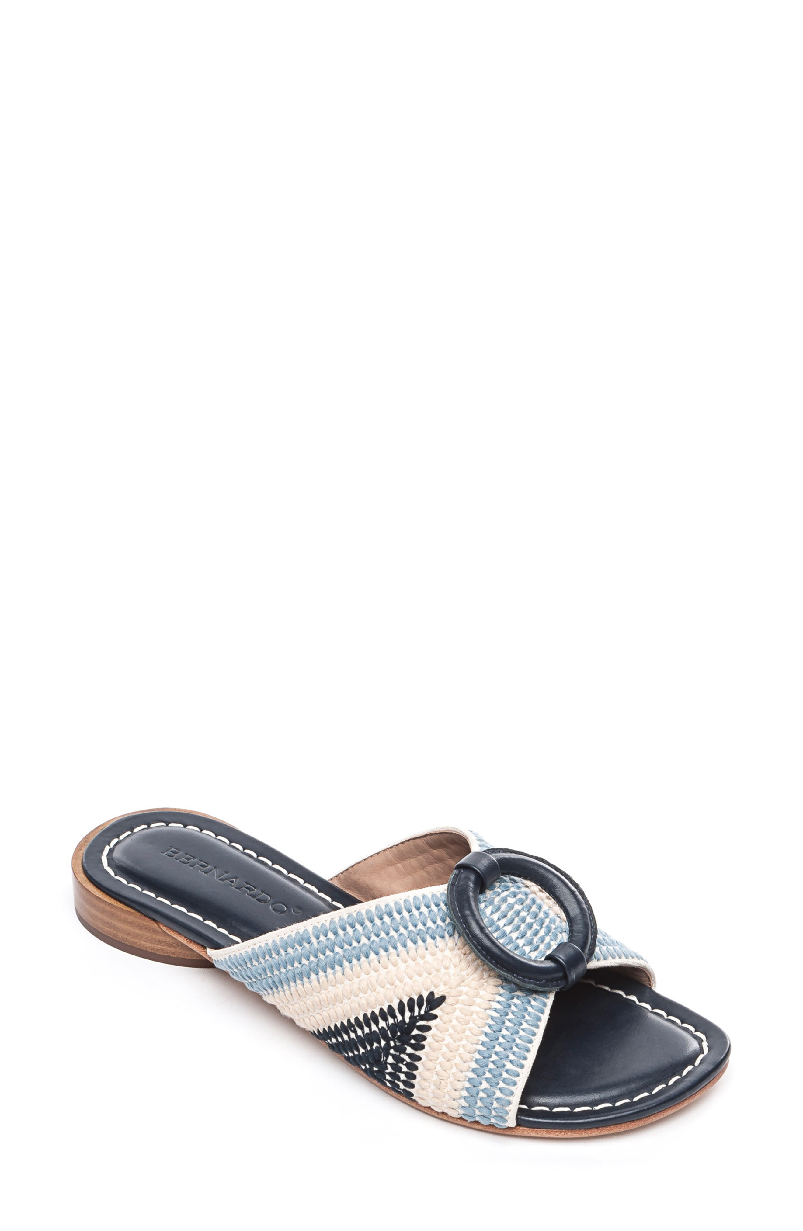 BERNARDO, Footwear Tay Slide Sandal, Main thumbnail 1, color, BLUE/ CREAM LEATHER