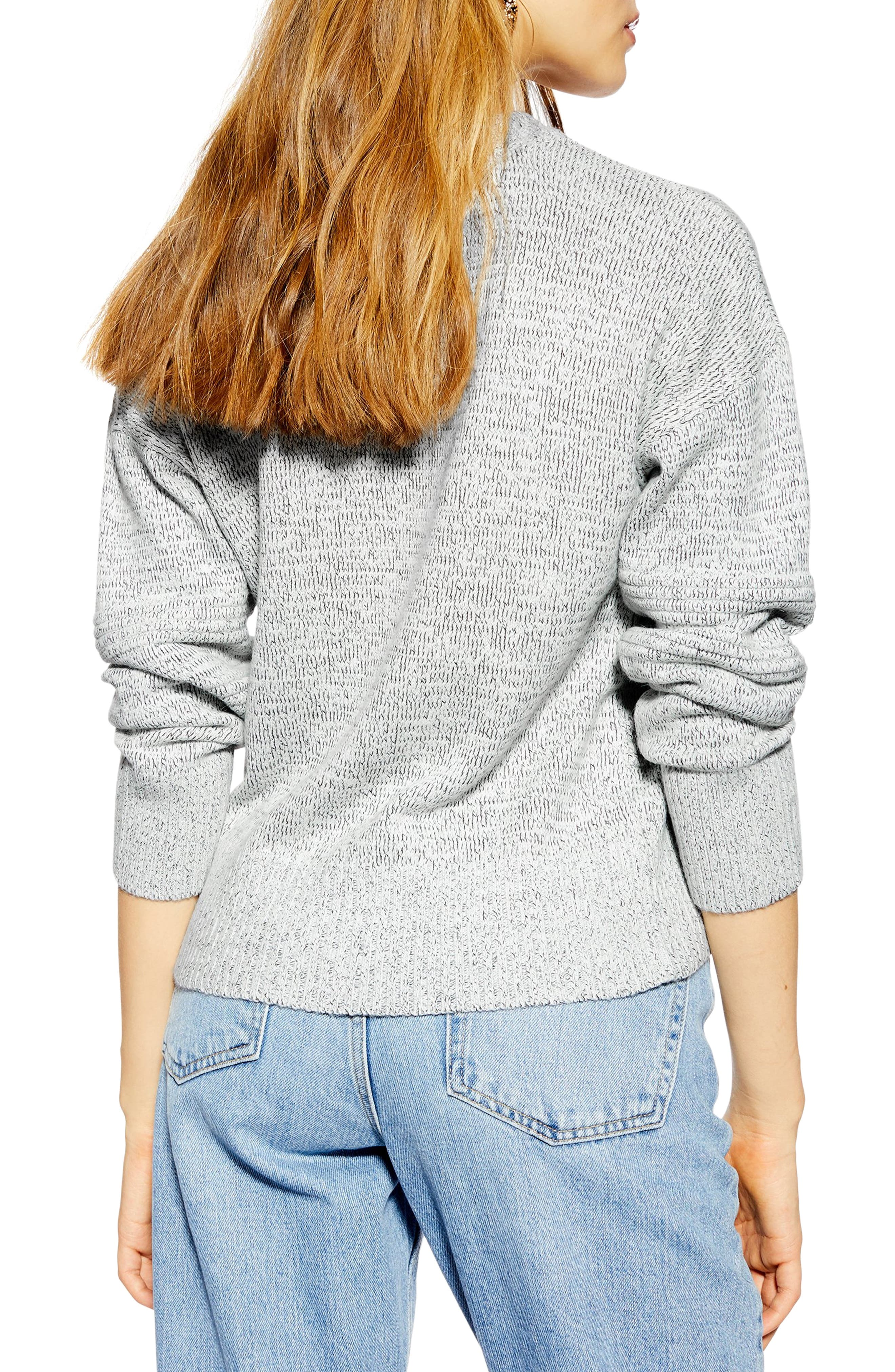 TOPSHOP, Ottoman Stitch Sweater, Alternate thumbnail 2, color, GREY MARL