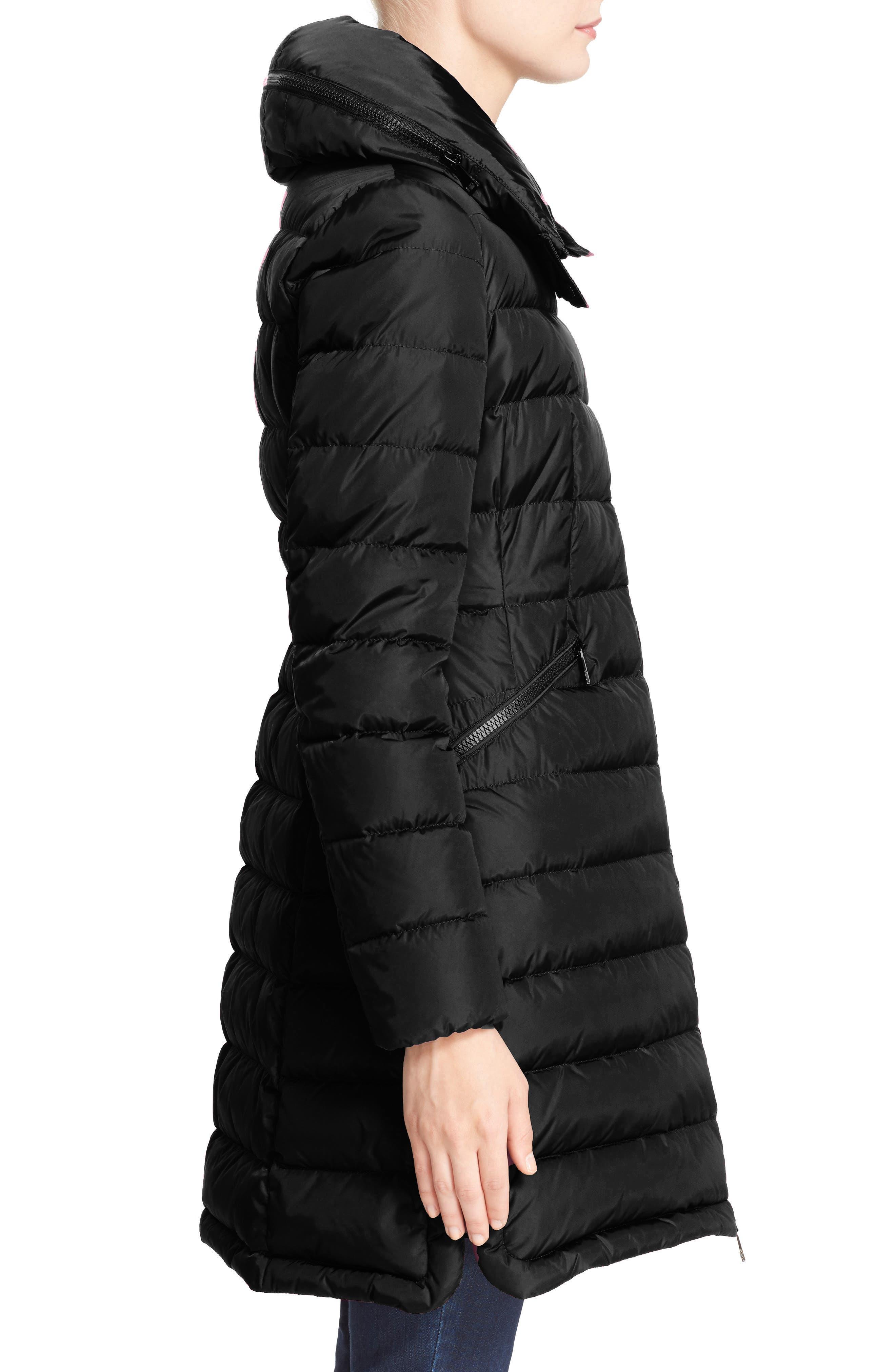 MONCLER, 'Flammette' Water Resistant Long Hooded Down Coat, Alternate thumbnail 3, color, BLK