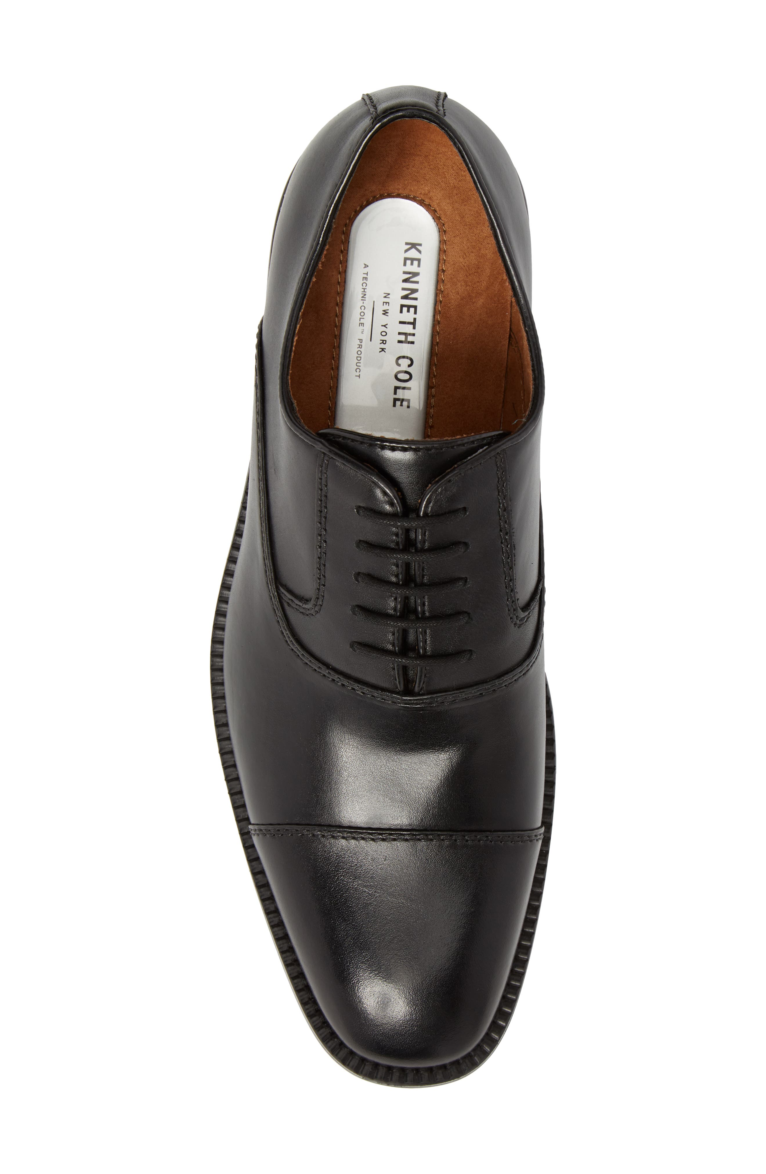 KENNETH COLE NEW YORK, Dice Cap Toe Oxford, Alternate thumbnail 5, color, BLACK LEATHER
