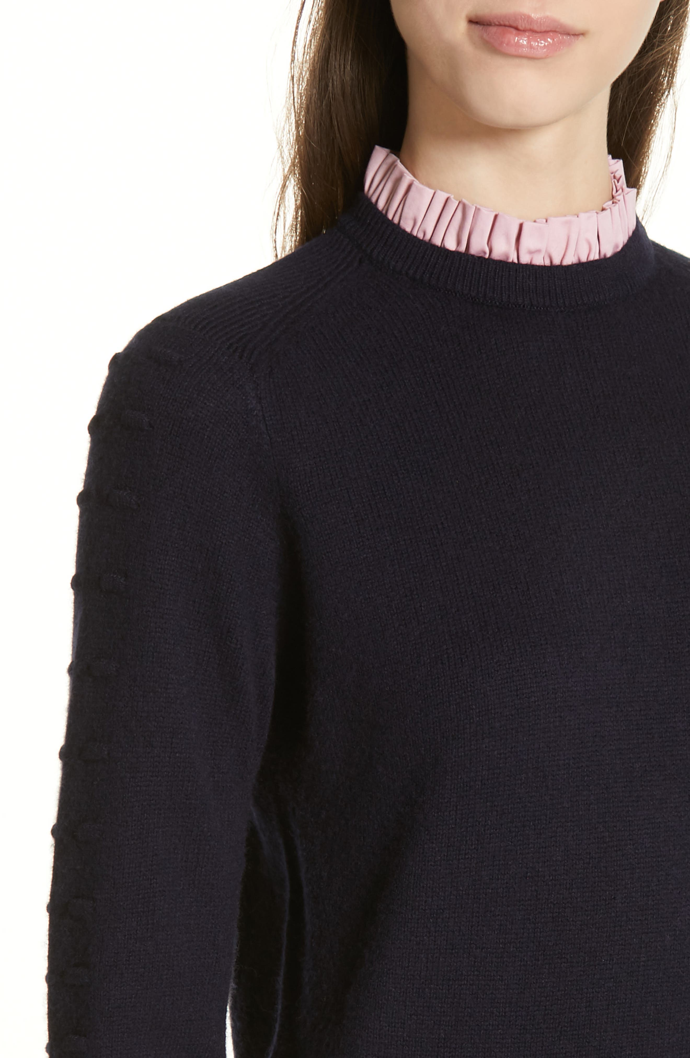 TED BAKER LONDON, Mock Two-Piece Sweater, Alternate thumbnail 4, color, NAVY