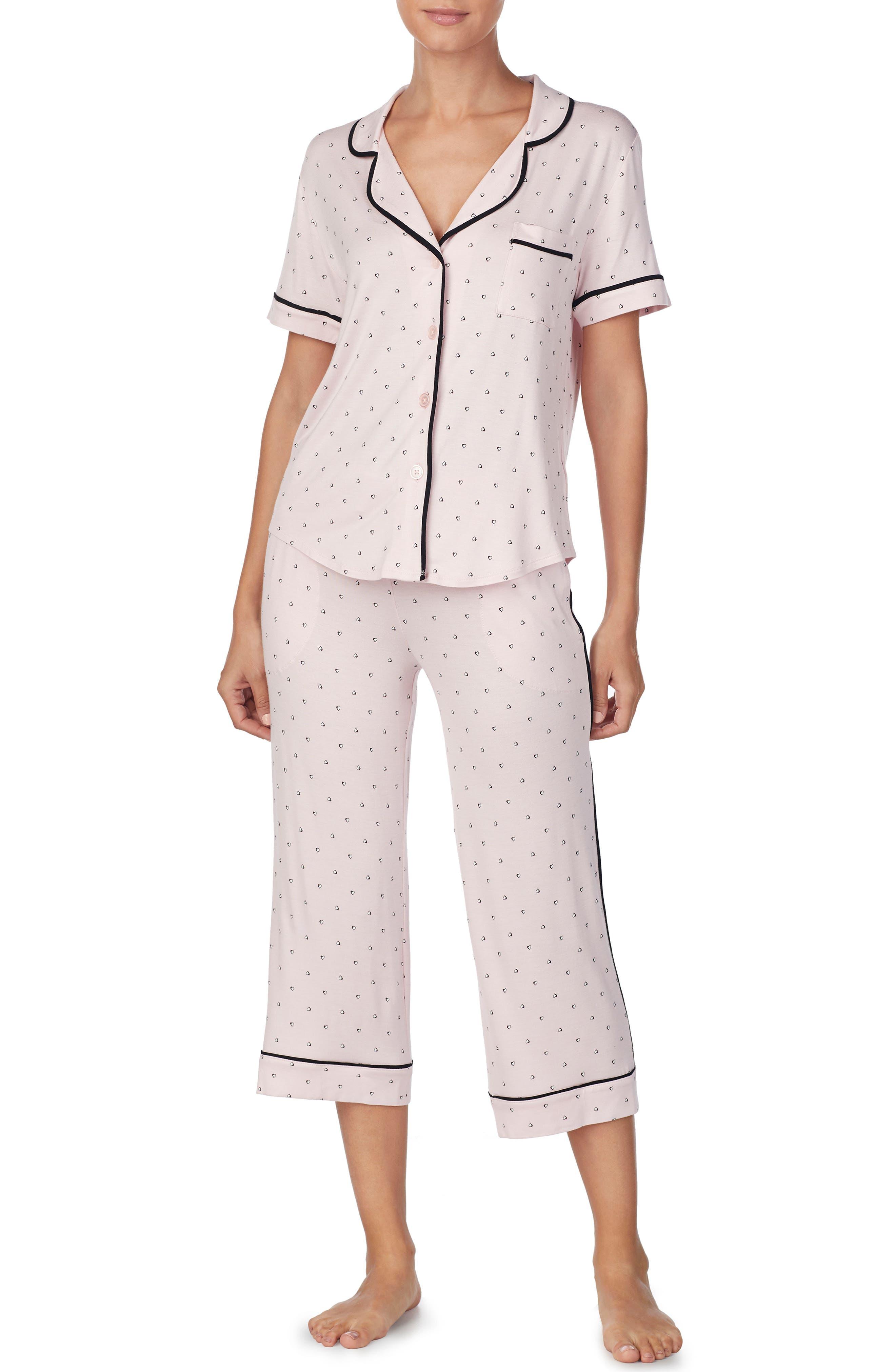ROOM SERVICE, Crop Pajamas, Main thumbnail 1, color, PINK SHADED HEARTS