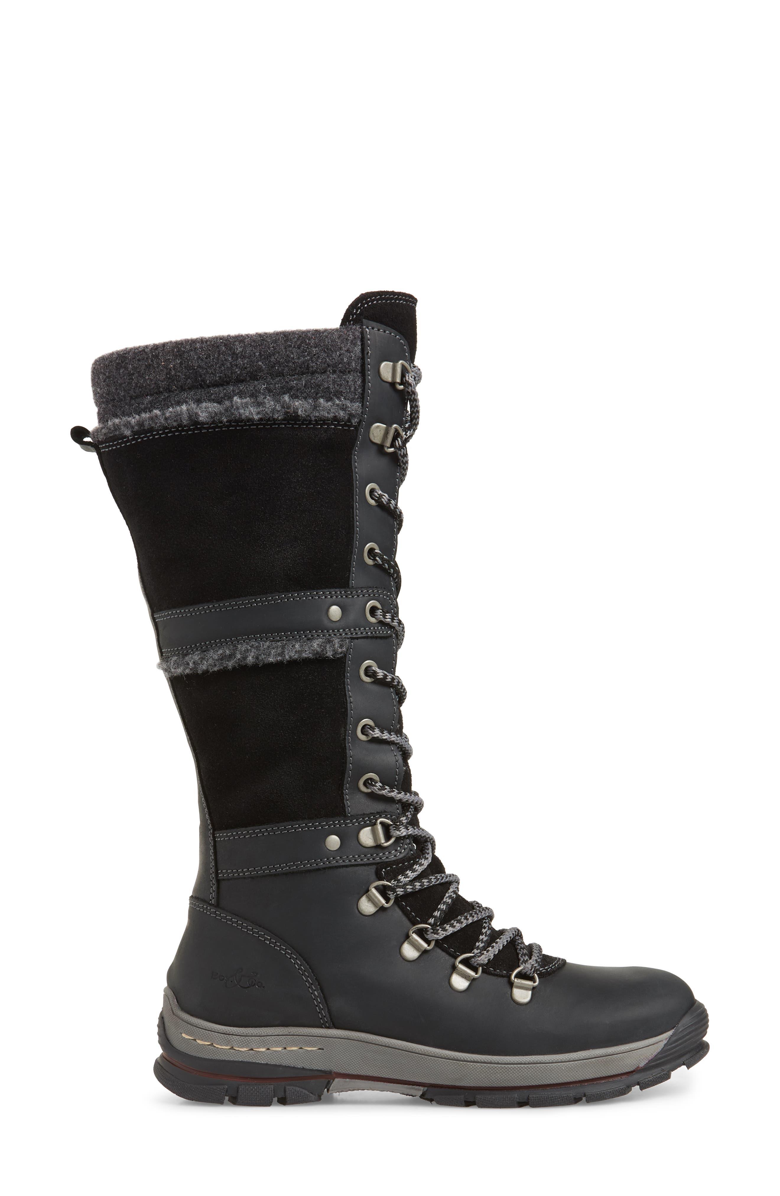 BOS. & CO., Gabriella Waterproof Boot, Alternate thumbnail 3, color, BLACK/ DARK GREY CROMAGNON