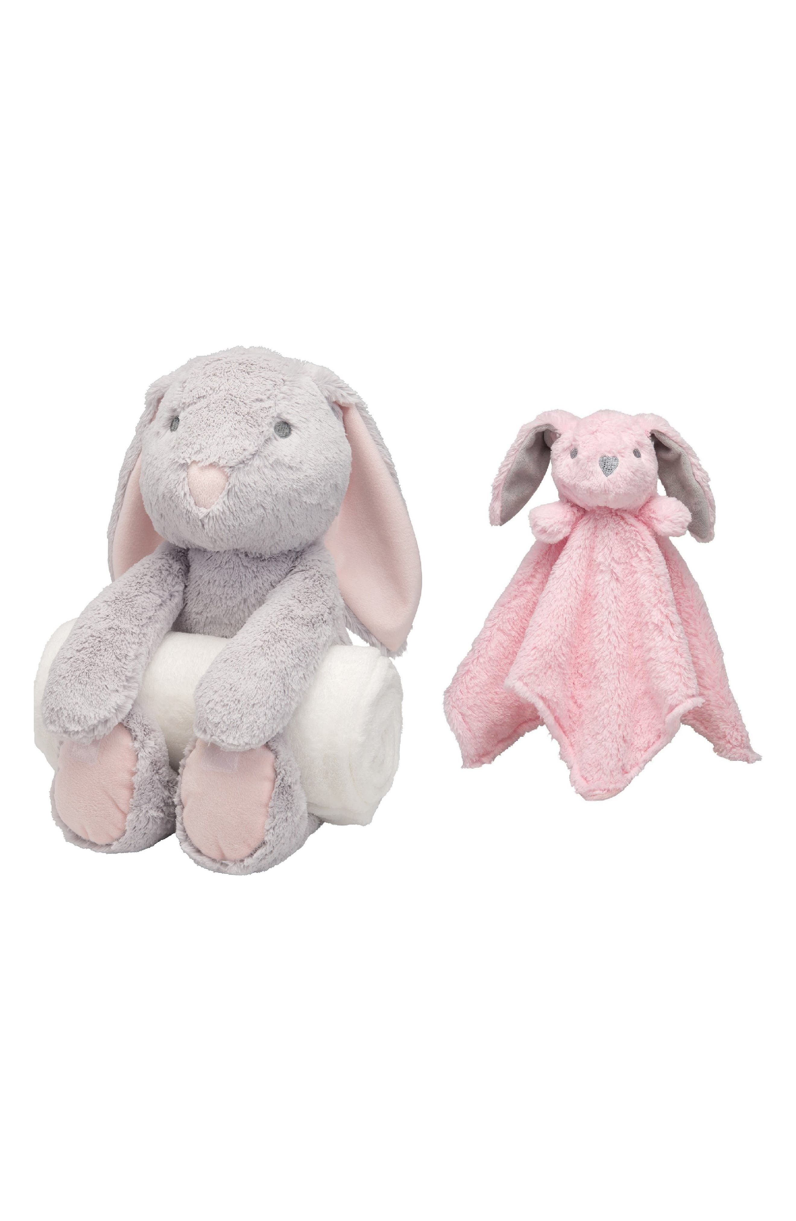 ELEGANT BABY, Bunny Bedtime Huggie Stuffed Animal, Blanket & Security Blanket Set, Main thumbnail 1, color, PINK