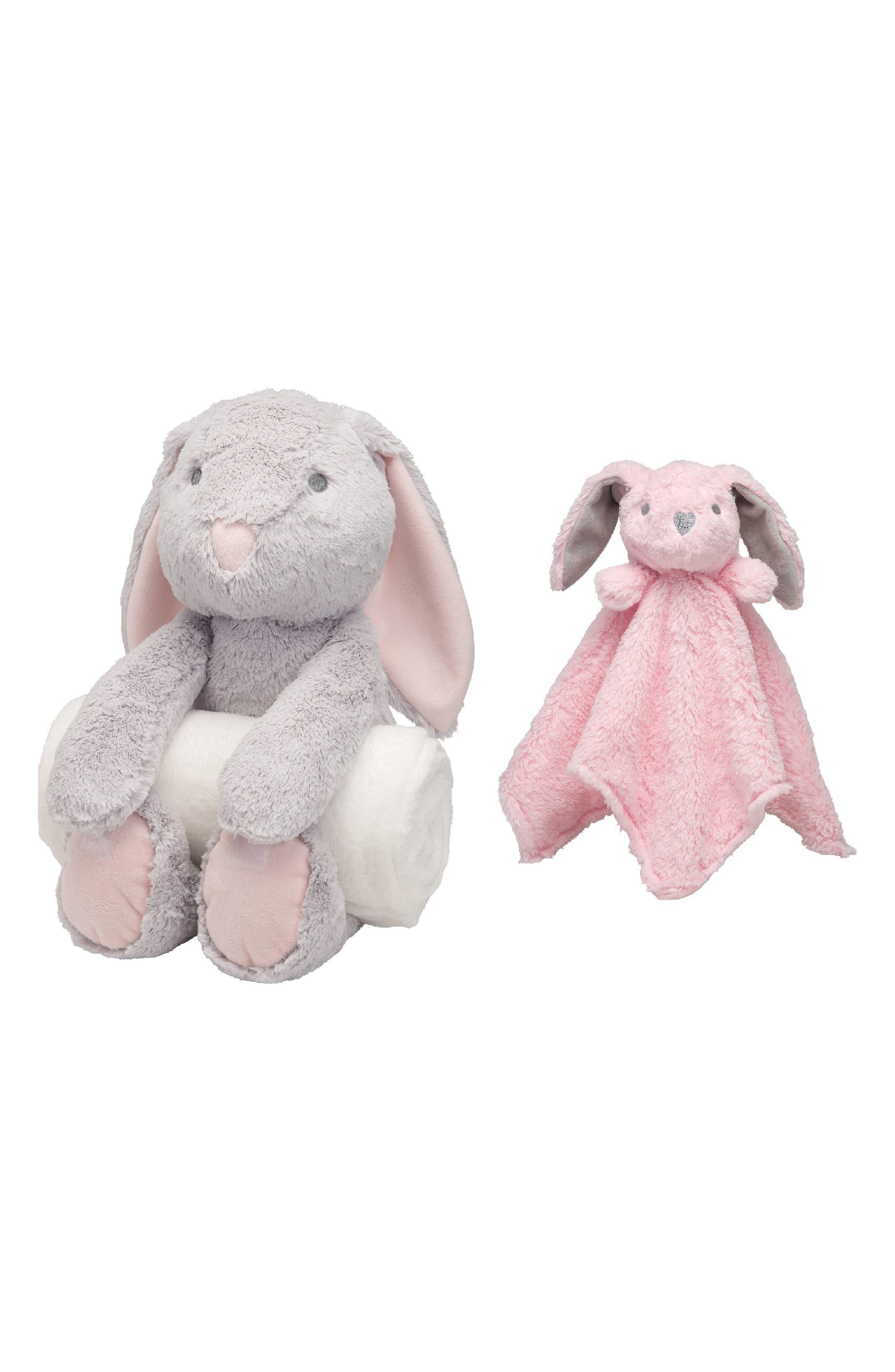 ELEGANT BABY Bunny Bedtime Huggie Stuffed Animal, Blanket & Security Blanket Set, Main, color, PINK