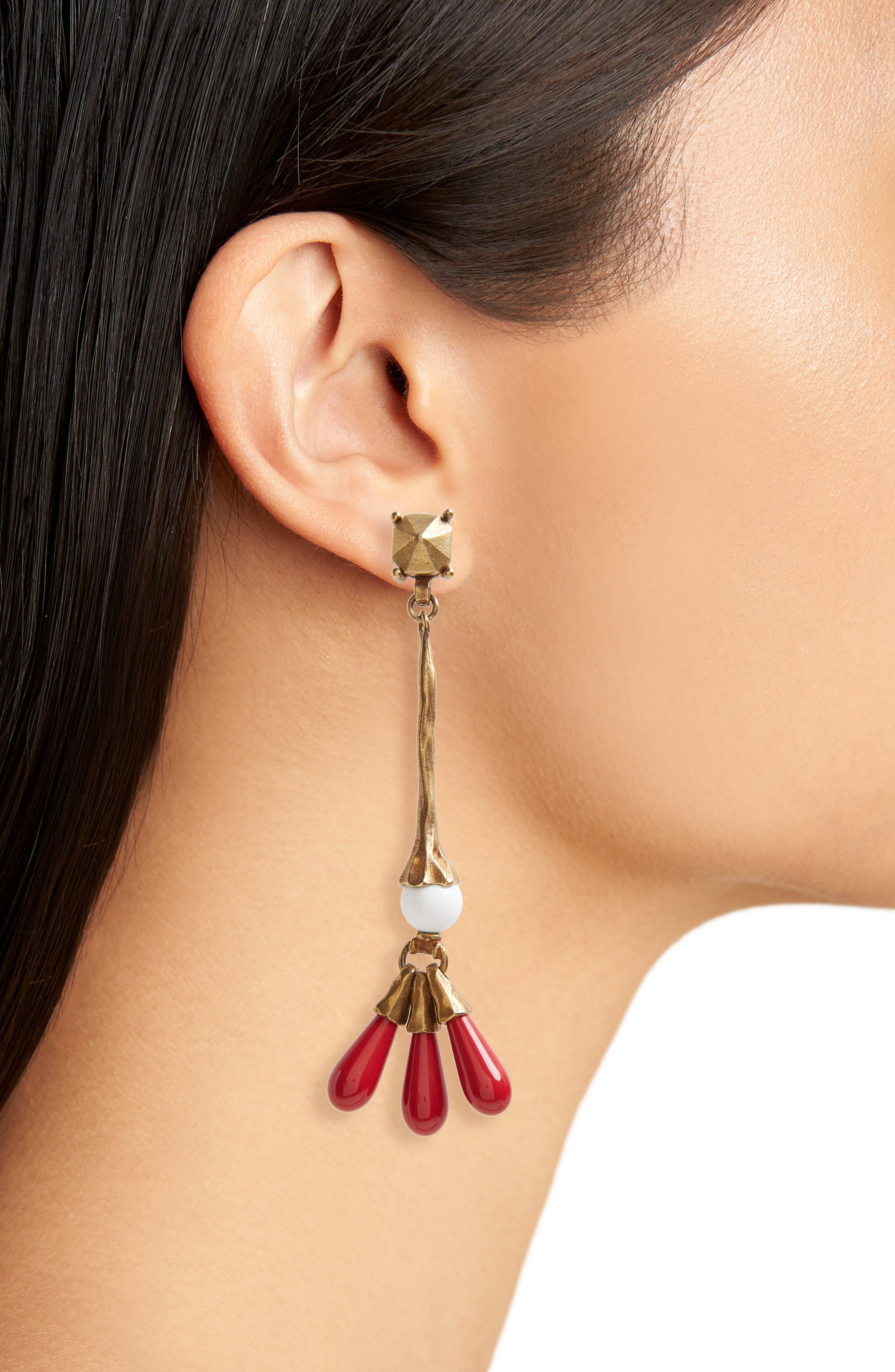 VALENTINO, Drop Earrings, Alternate thumbnail 2, color, 600