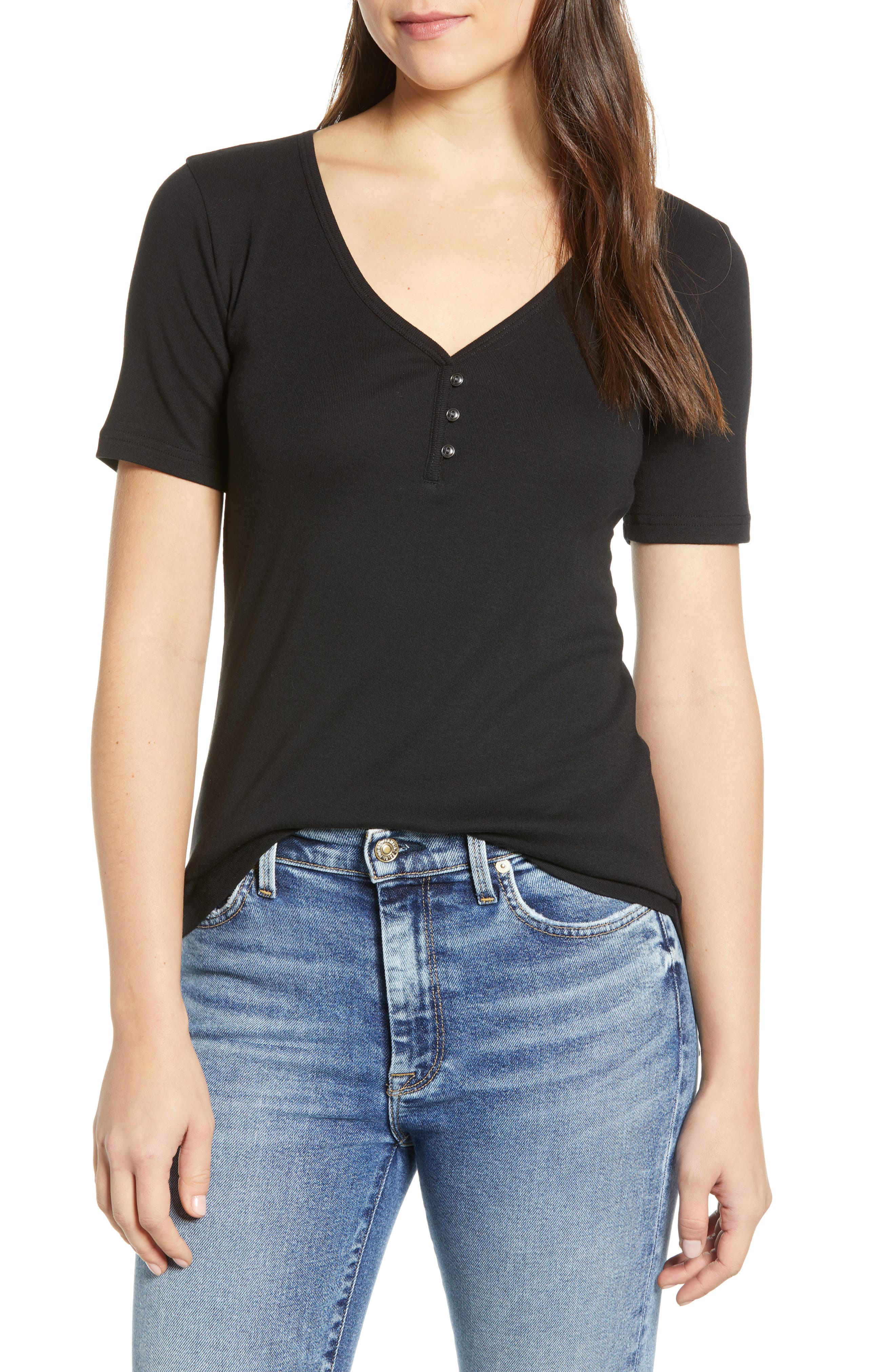 CASLON<SUP>®</SUP> Henley Tee, Main, color, BLACK