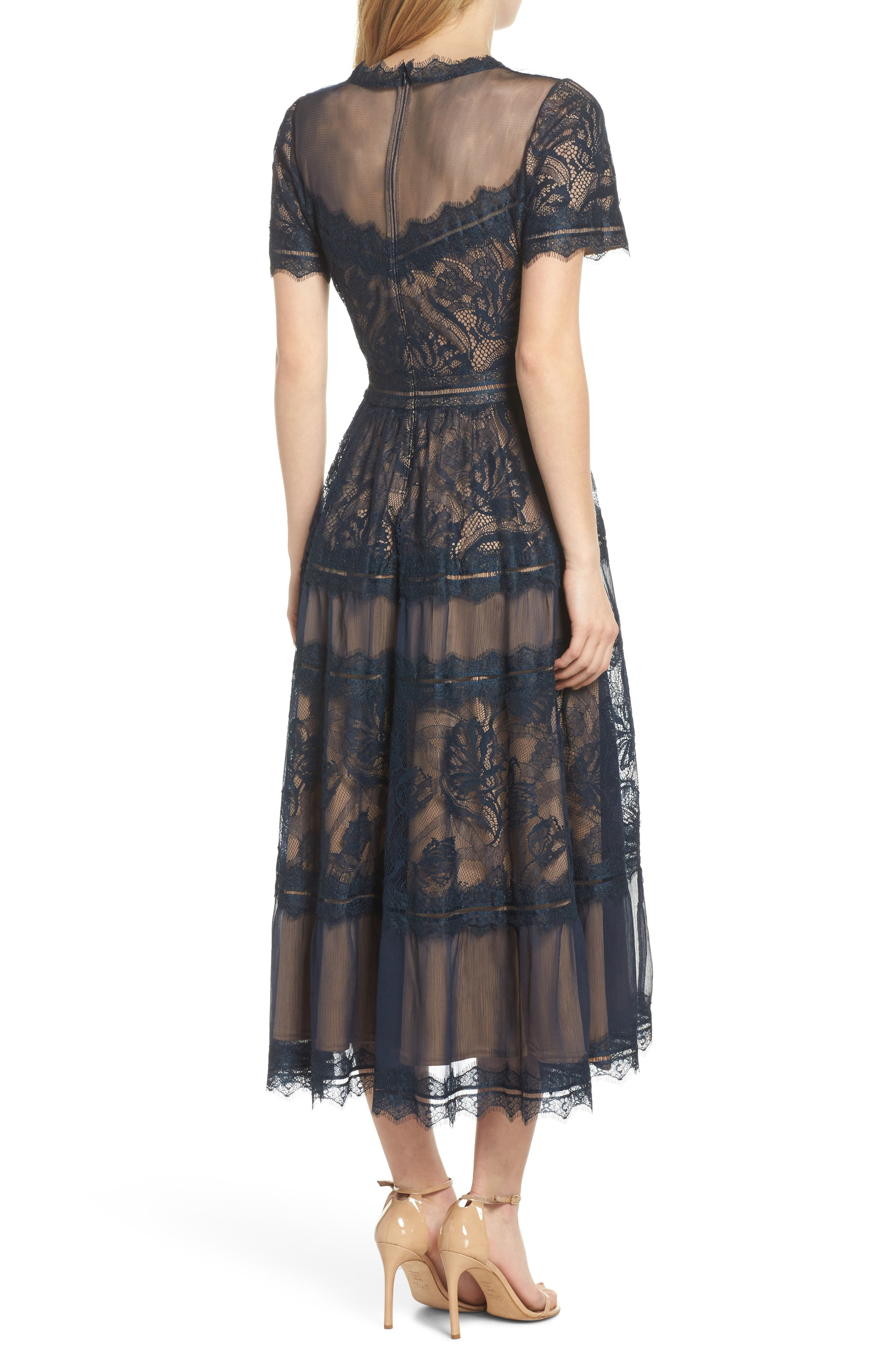 TADASHI SHOJI, Lace Midi Dress, Alternate thumbnail 2, color, NAVY/ NUDE