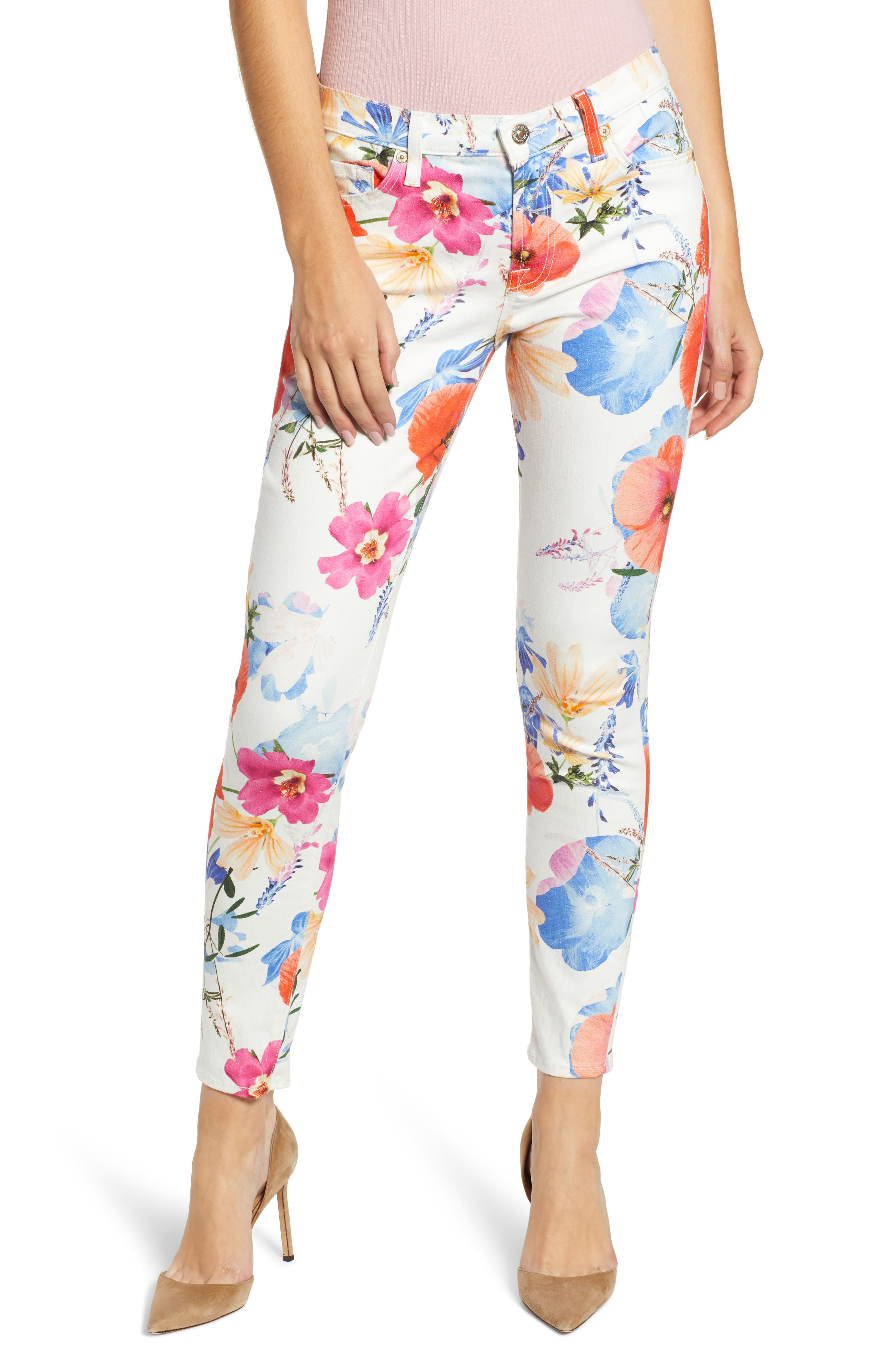 7 FOR ALL MANKIND<SUP>®</SUP>, The Ankle Skinny Jeans, Main thumbnail 1, color, SEASIDE POPPIES