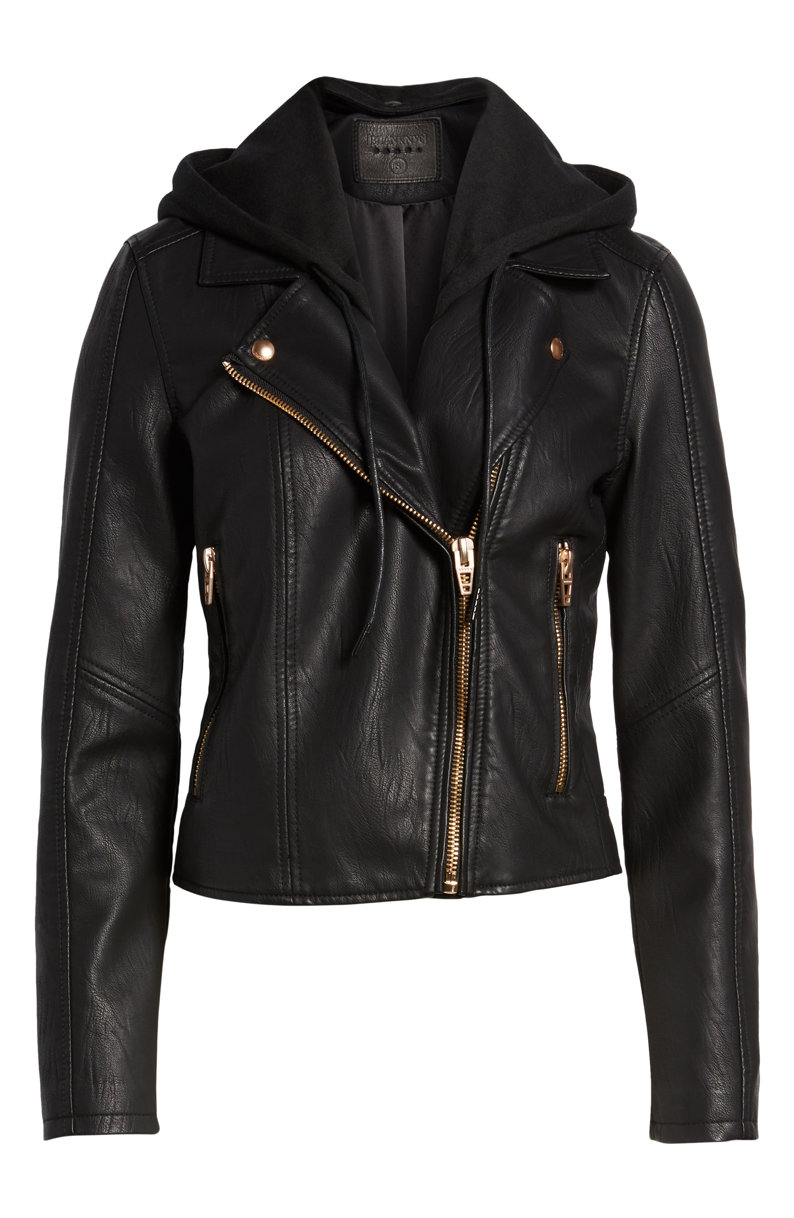 BLANKNYC, Meant to Be Moto Jacket with Removable Hood, Alternate thumbnail 6, color, BLACK