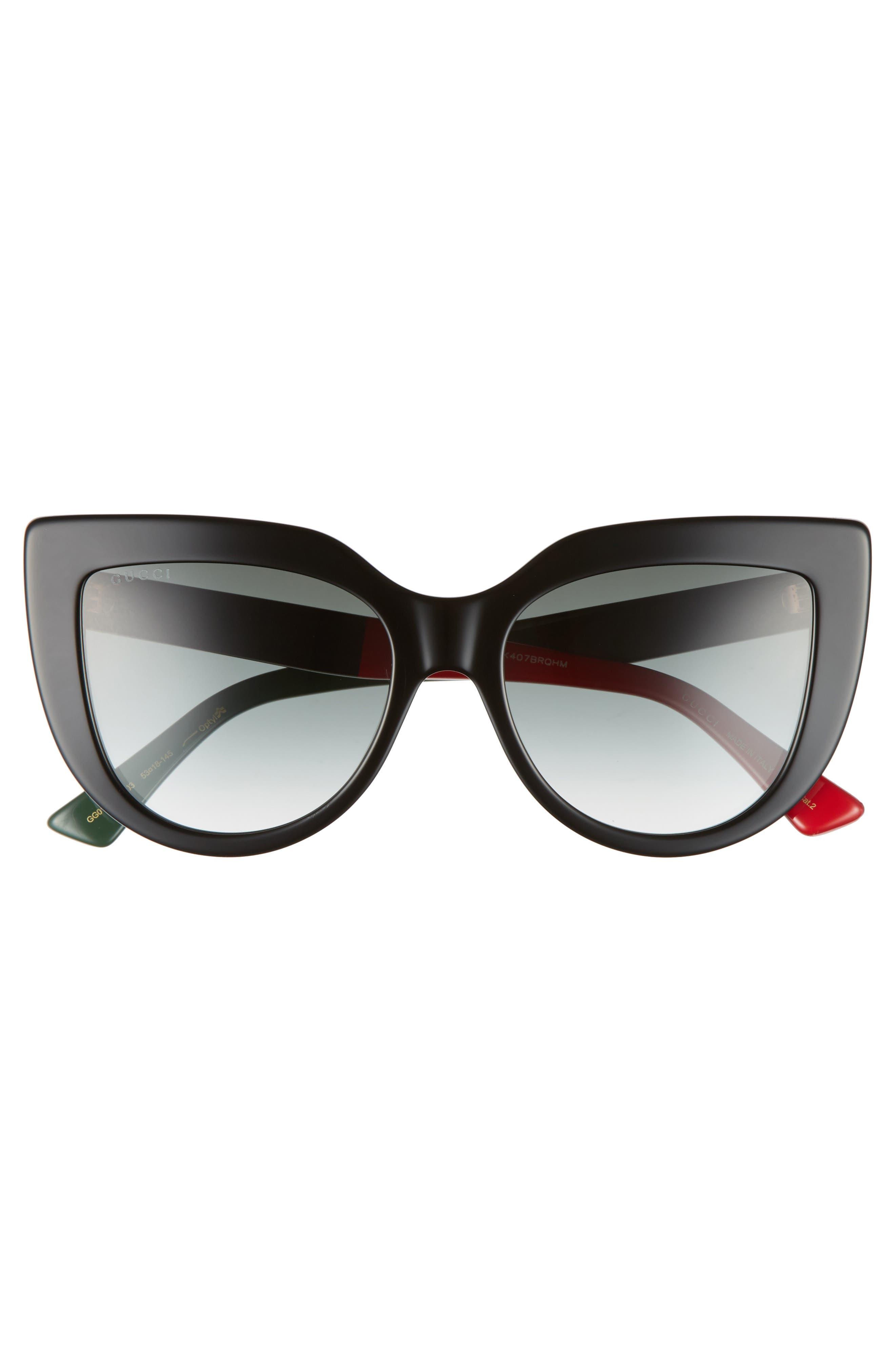 GUCCI, 53mm Cat Eye Sunglasses, Alternate thumbnail 3, color, BLACK