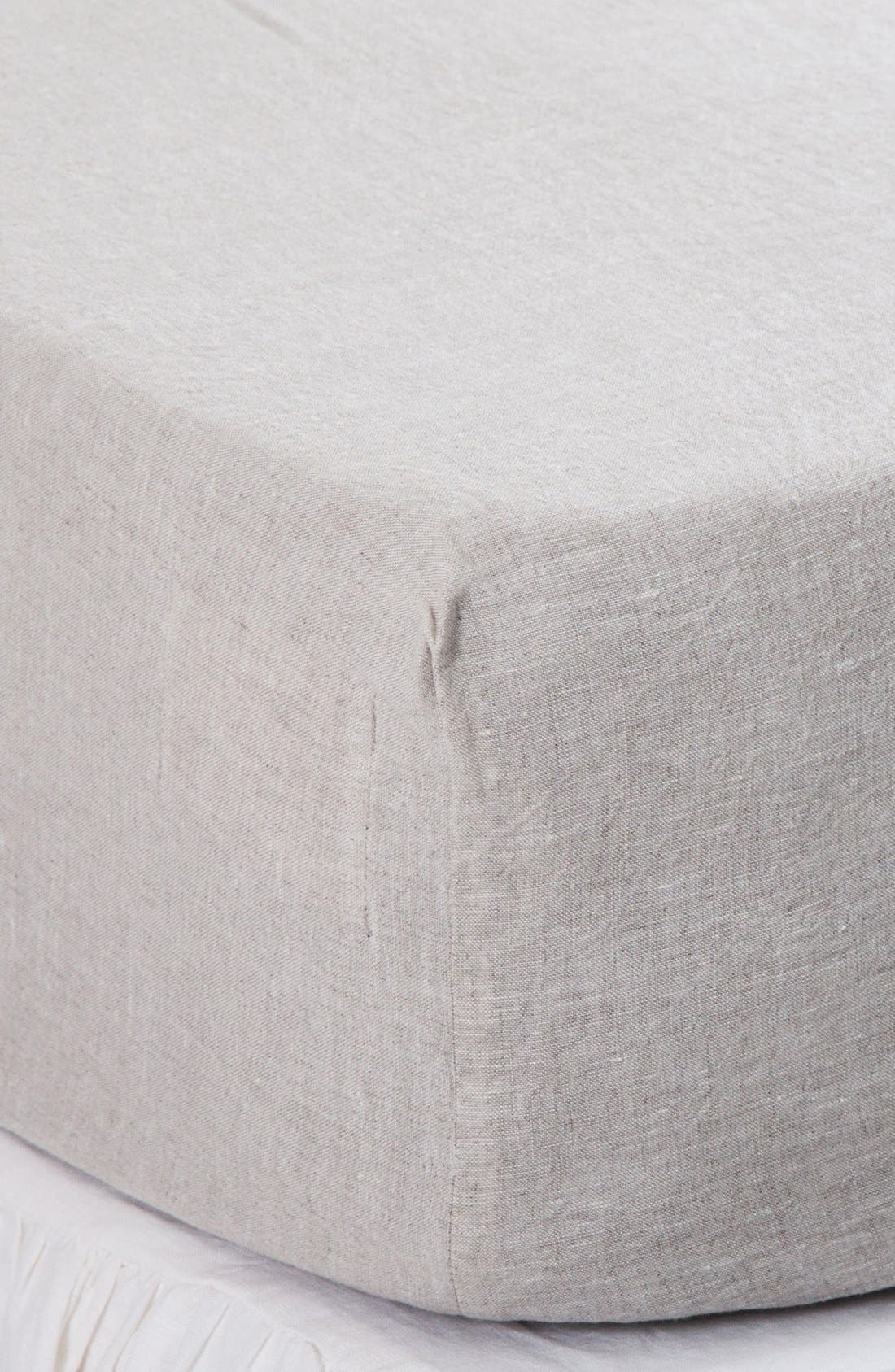 POM POM AT HOME Linen Fitted Sheet, Main, color, FLAX