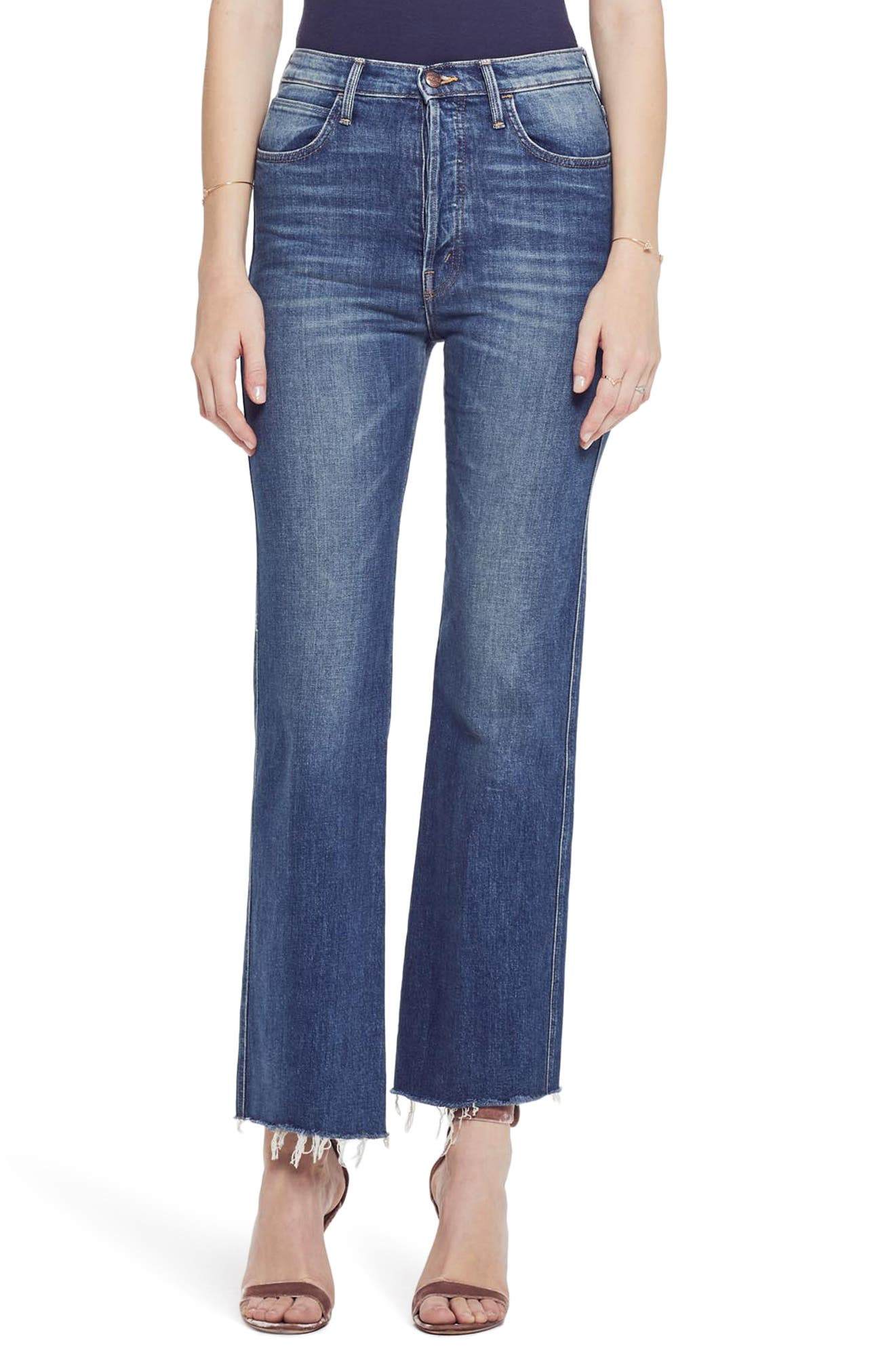 MOTHER, The Tripper Super High Waist Frayed Bootcut Jeans, Main thumbnail 1, color, JUST ONE SIP
