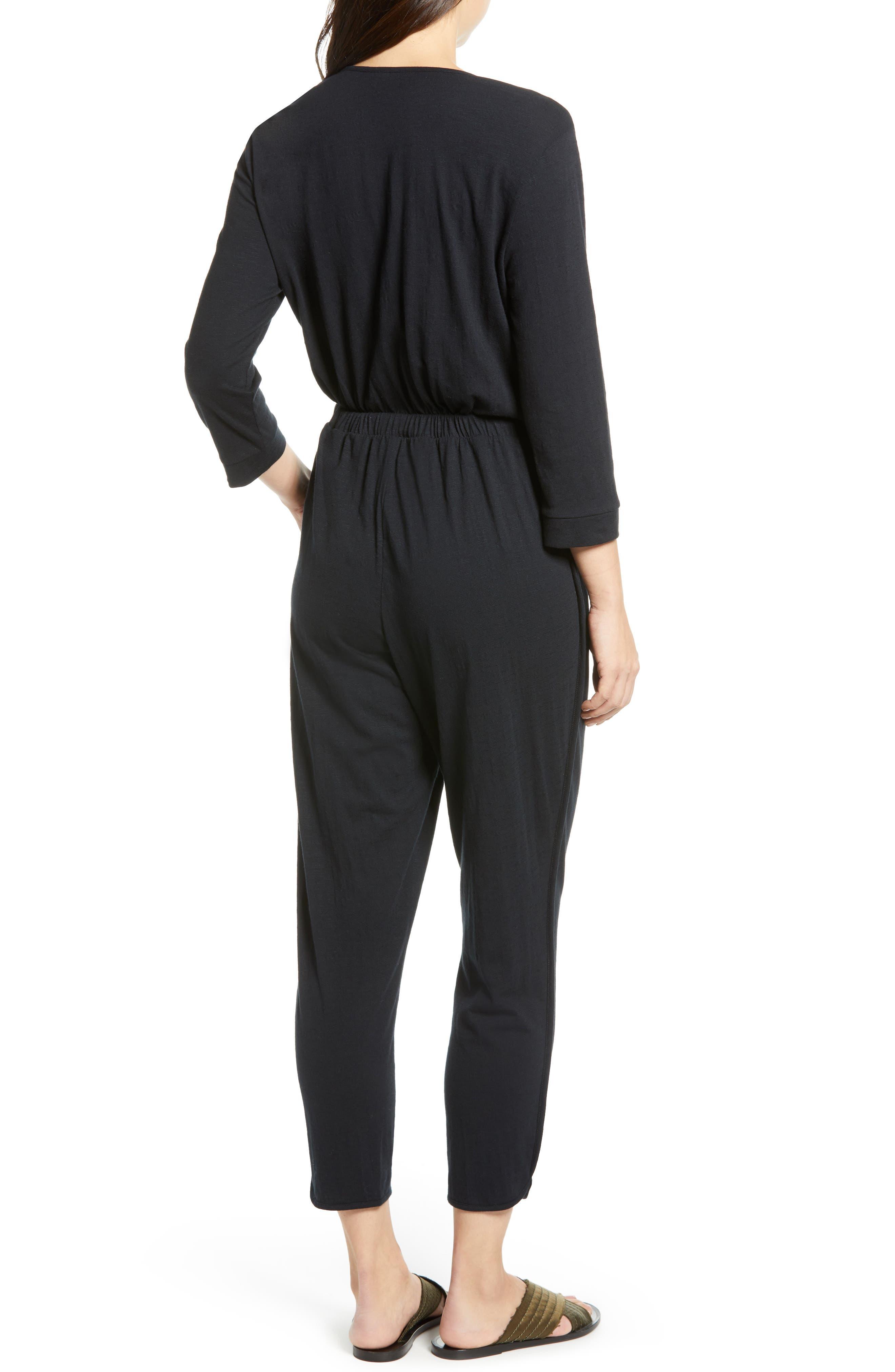 CASLON<SUP>®</SUP>, Surplice Crop Jumpsuit, Alternate thumbnail 2, color, BLACK