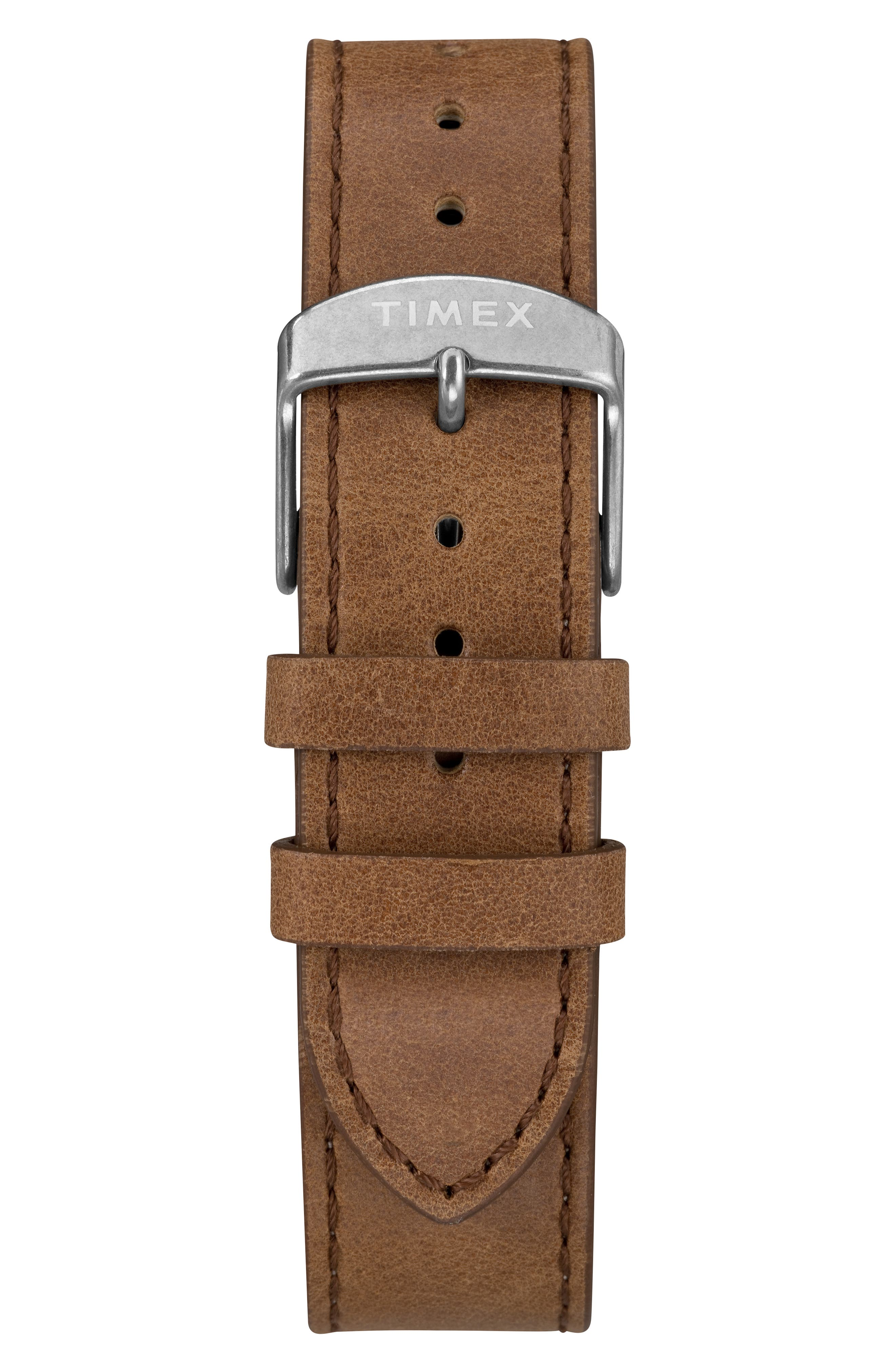 TIMEX<SUP>®</SUP>, Waterbury Welton Leather Cuff Watch, 38mm, Alternate thumbnail 2, color, BROWN/ BLACK/ SILVER