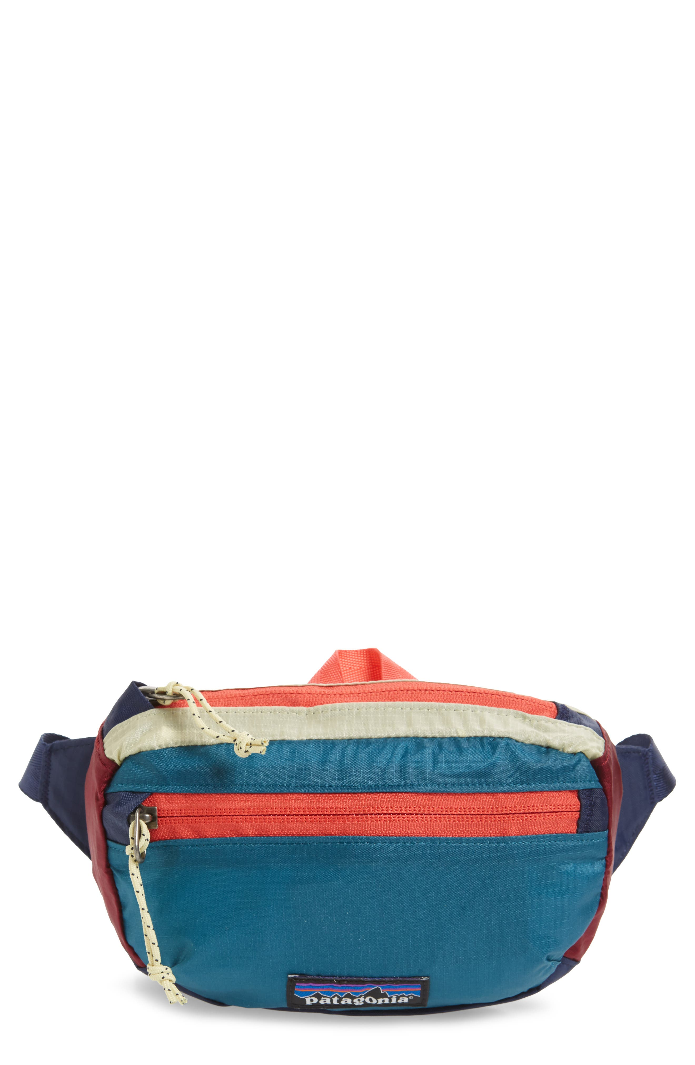 PATAGONIA Travel Belt Bag, Main, color, PATCHWORK ARROW RED / NAVY