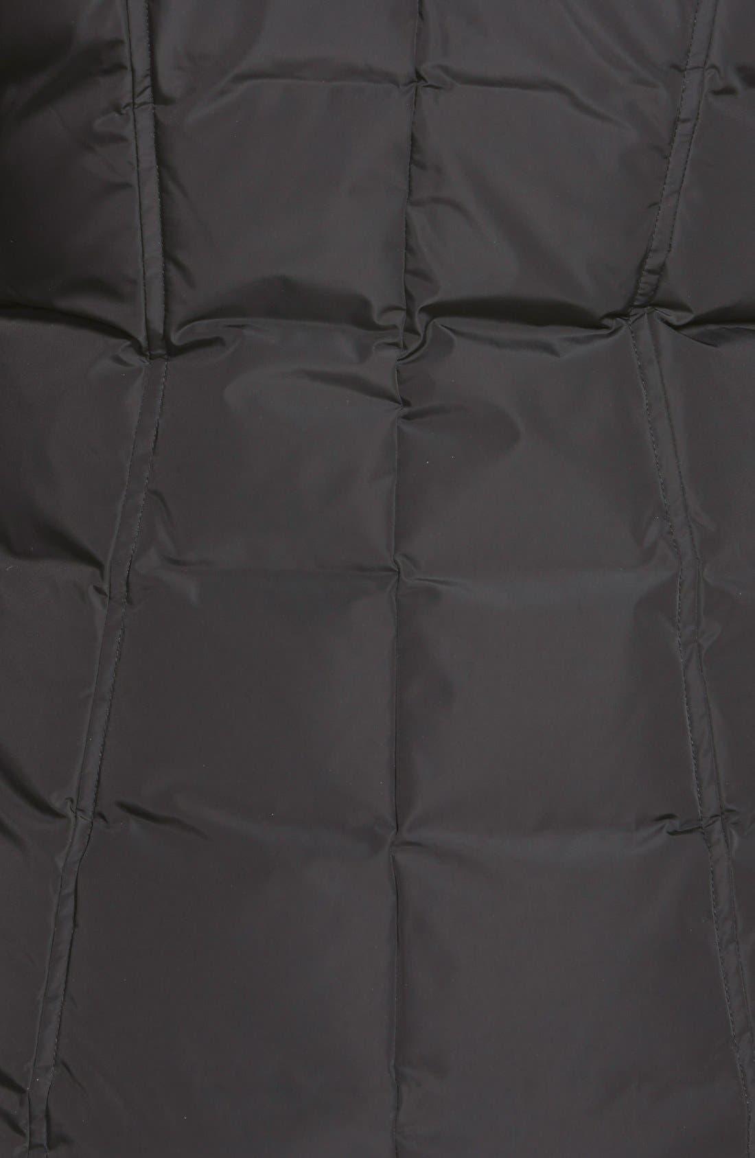 MACKAGE, Hooded Down Parka with Inset Bib & Genuine Fox Fur Trim, Alternate thumbnail 8, color, 001