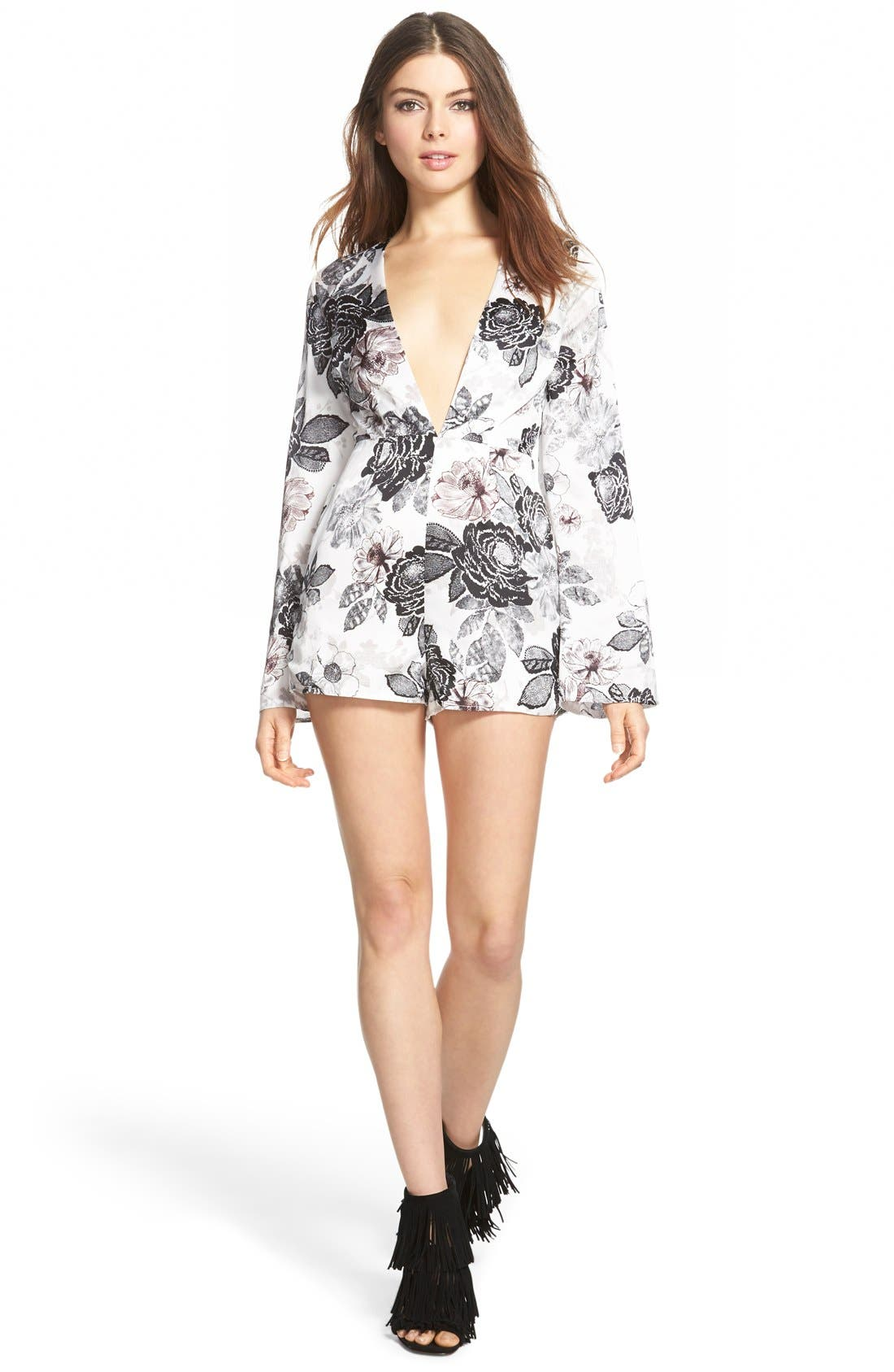 MISSGUIDED, Floral Print Romper, Main thumbnail 1, color, 900