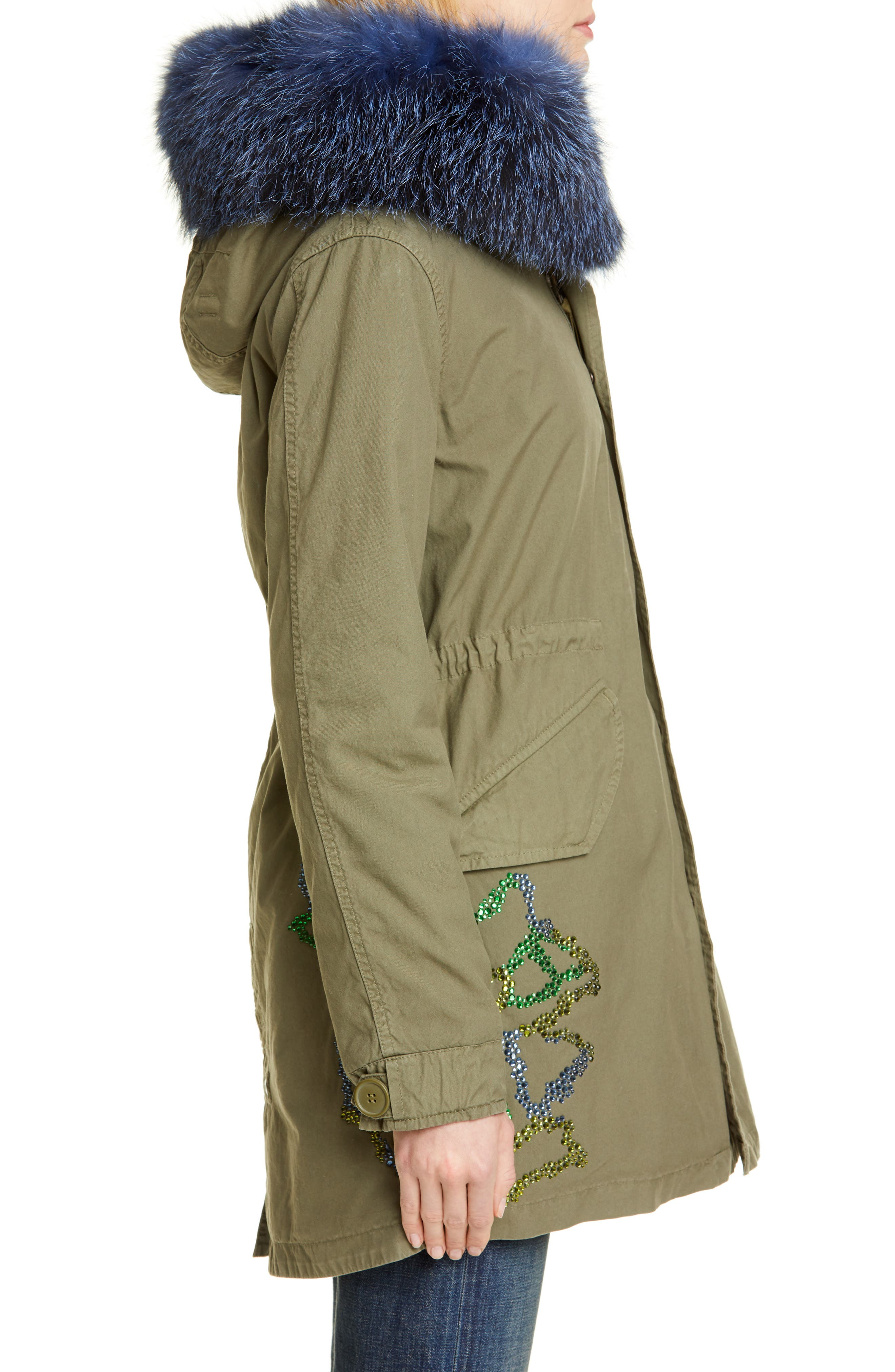 MR & MRS ITALY, Crystal Embellished Parka with Removable Genuine Fox Fur Trim, Alternate thumbnail 4, color, ARMY