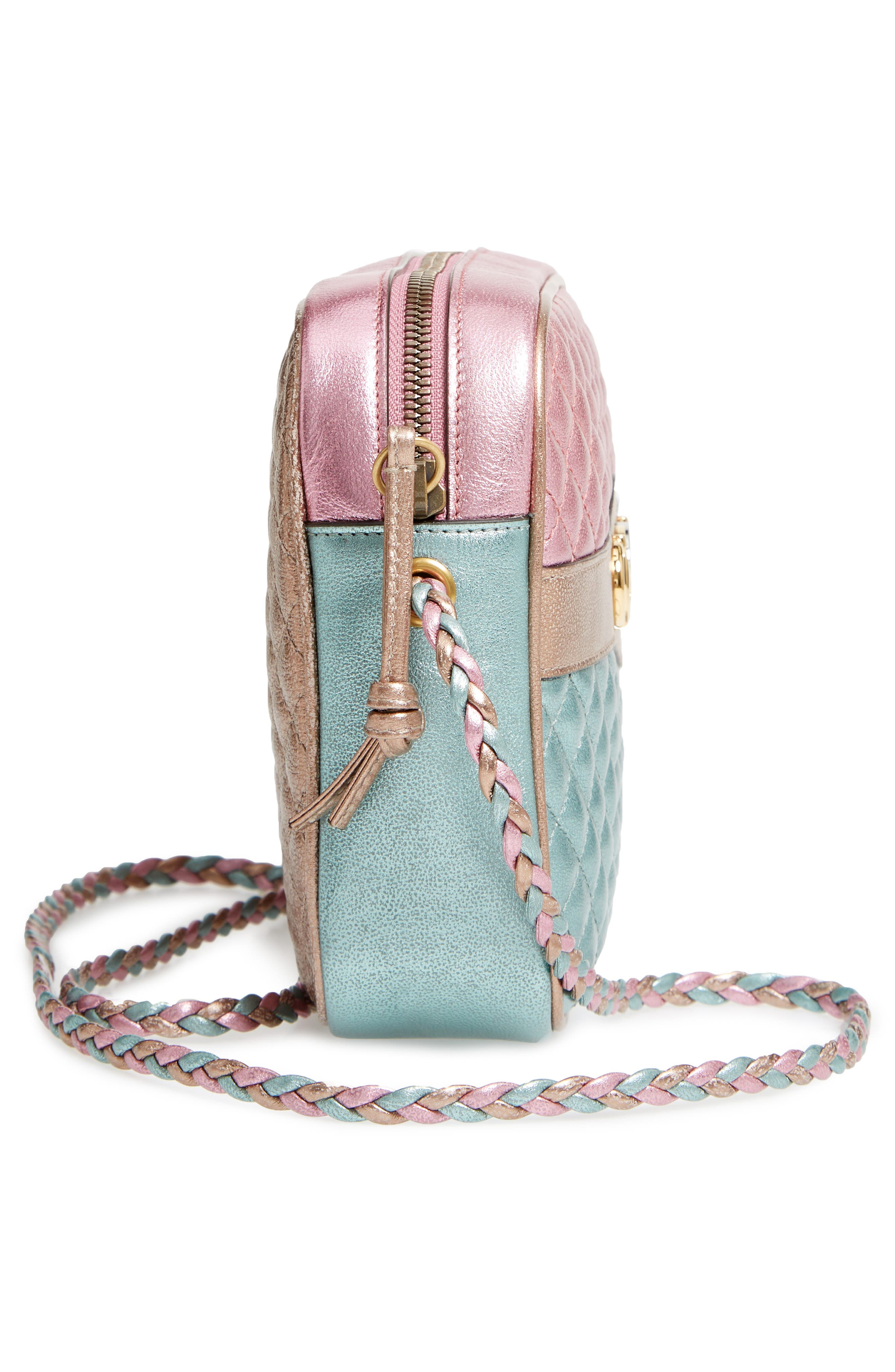 GUCCI, Small Quilted Metallic Leather Shoulder Bag, Alternate thumbnail 5, color, ROSE/ BLUE