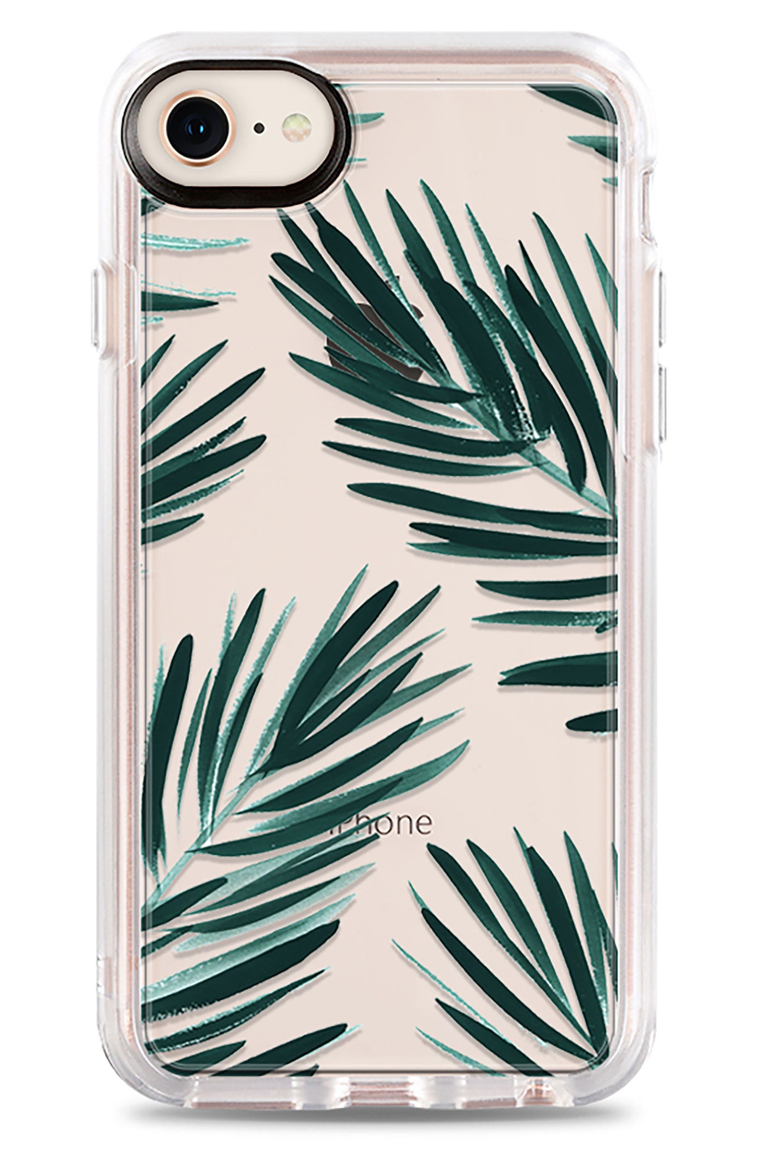CASETIFY, Palm Fronds iPhone 7/8 & 7/8 Plus Case, Main thumbnail 1, color, GREEN