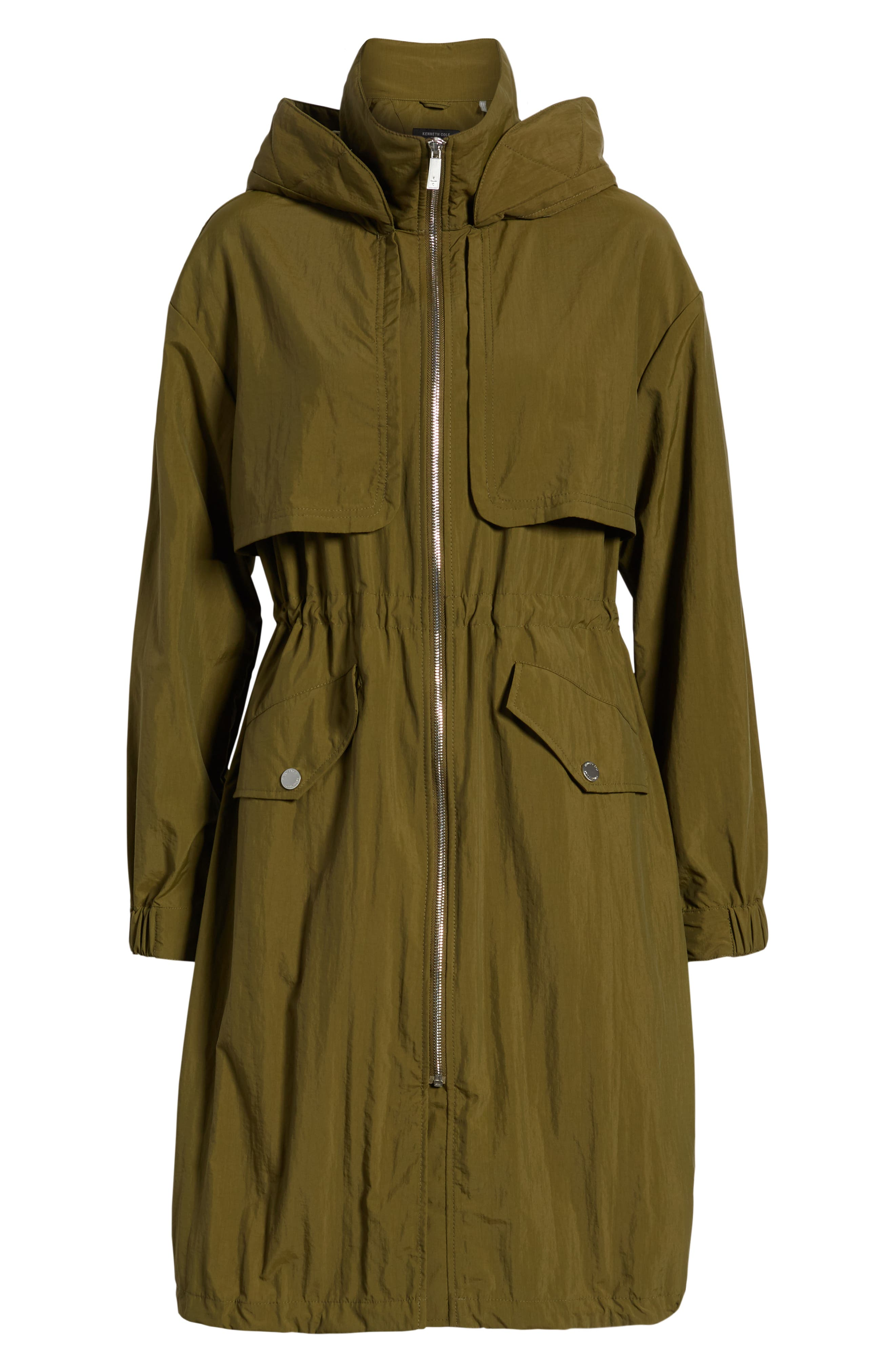 KENNETH COLE NEW YORK, Hooded Parka, Alternate thumbnail 6, color, OLIVE