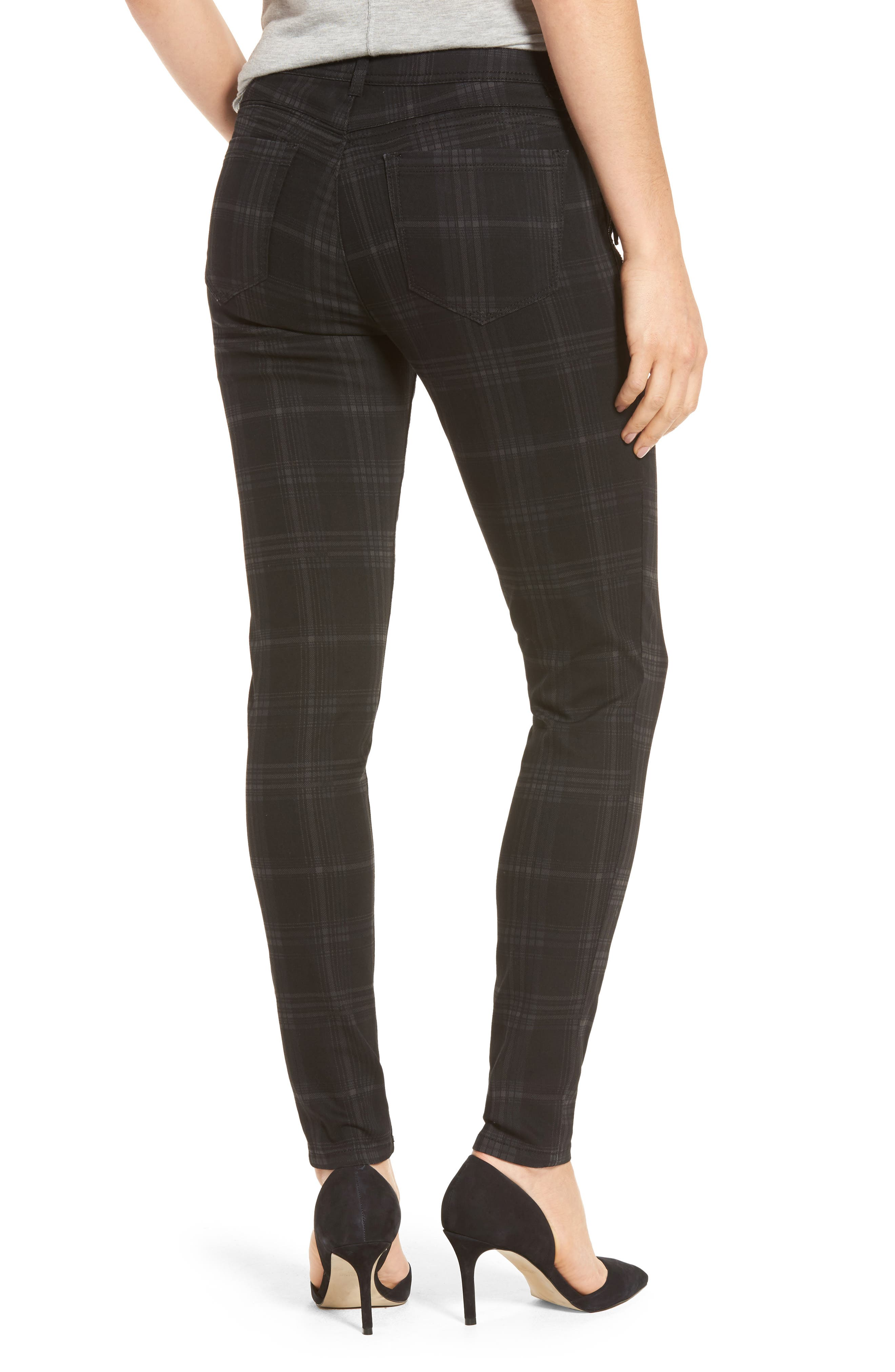 WIT & WISDOM, Ab-solution Side Zip Plaid Skinny Pants, Alternate thumbnail 2, color, BLACK
