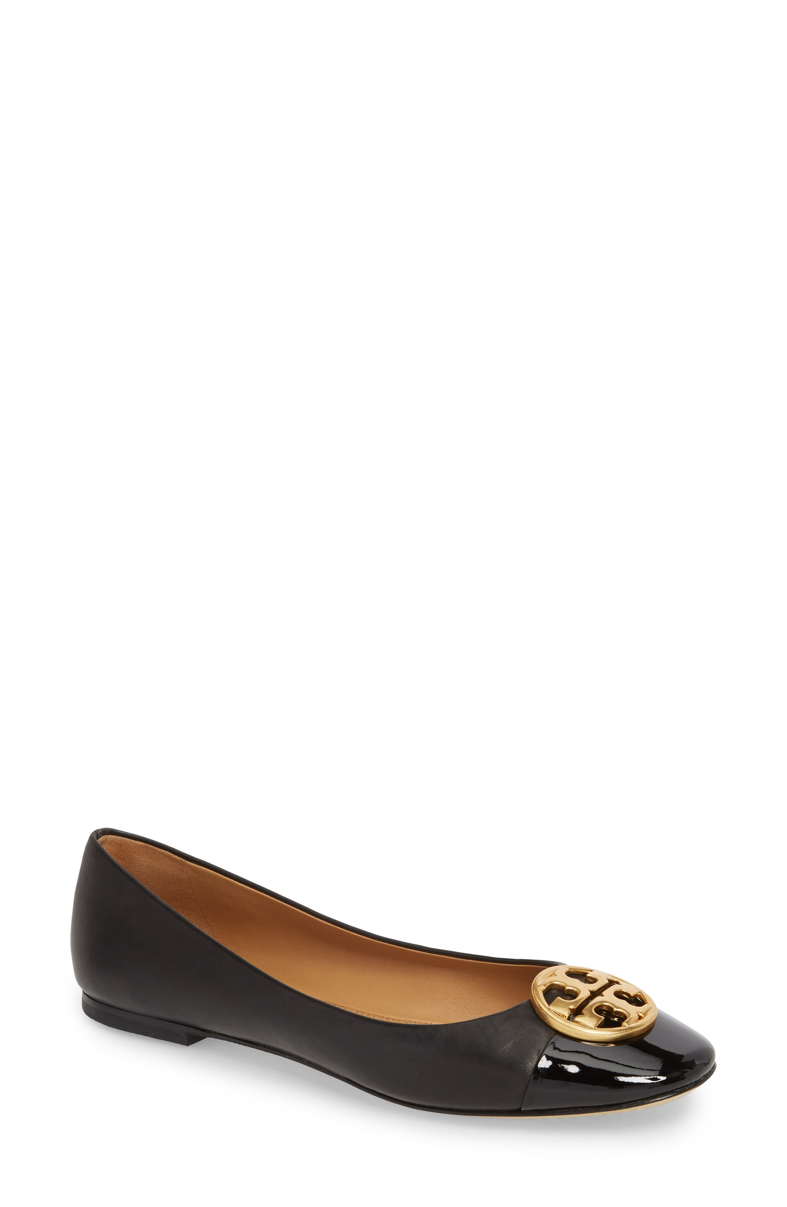 TORY BURCH, Chelsea Cap Toe Ballet Flat, Main thumbnail 1, color, BLACK