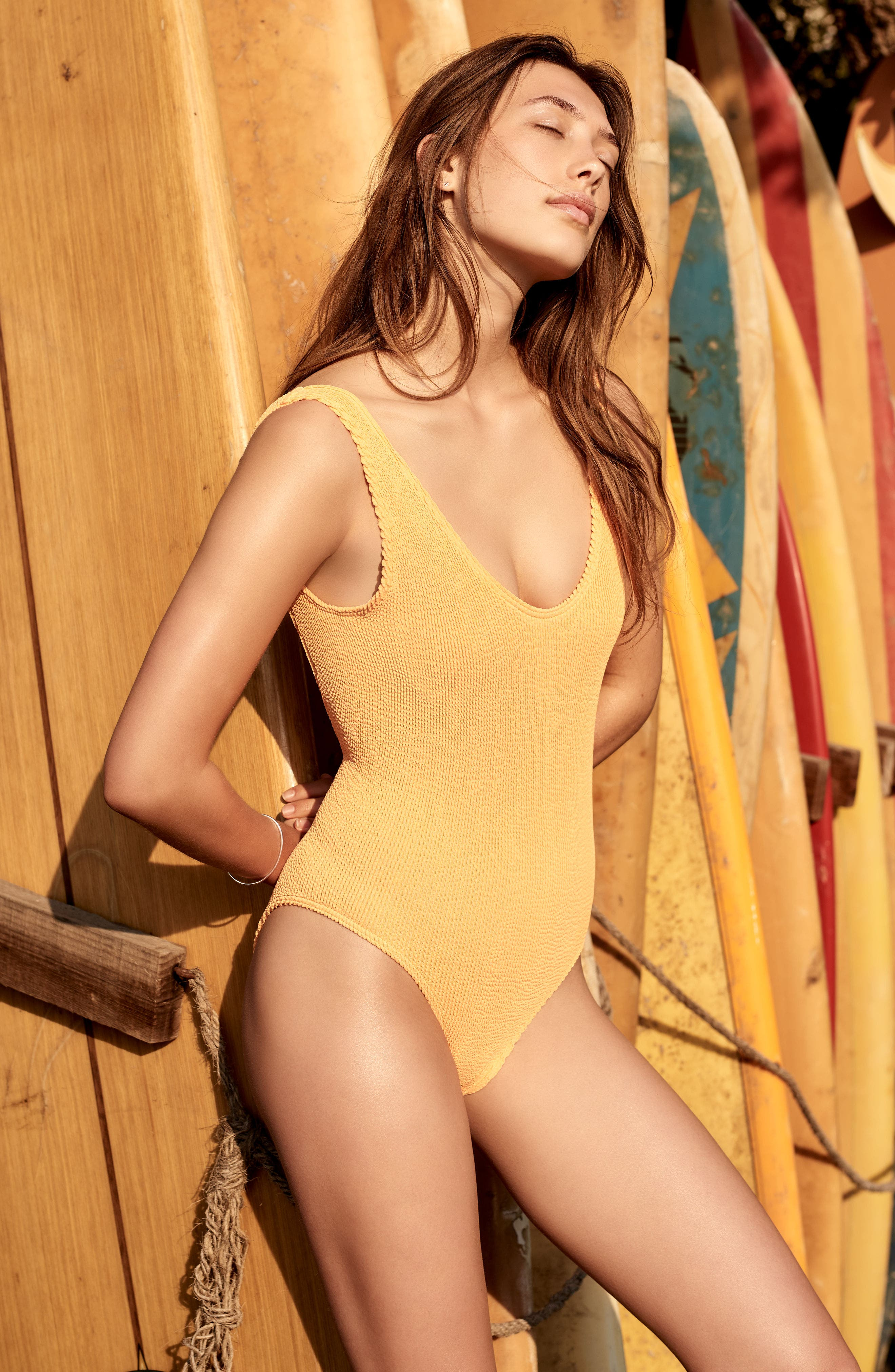 BOUND BY BOND-EYE, The Mara Ribbed One-Piece Swimsuit, Alternate thumbnail 5, color, BLACK