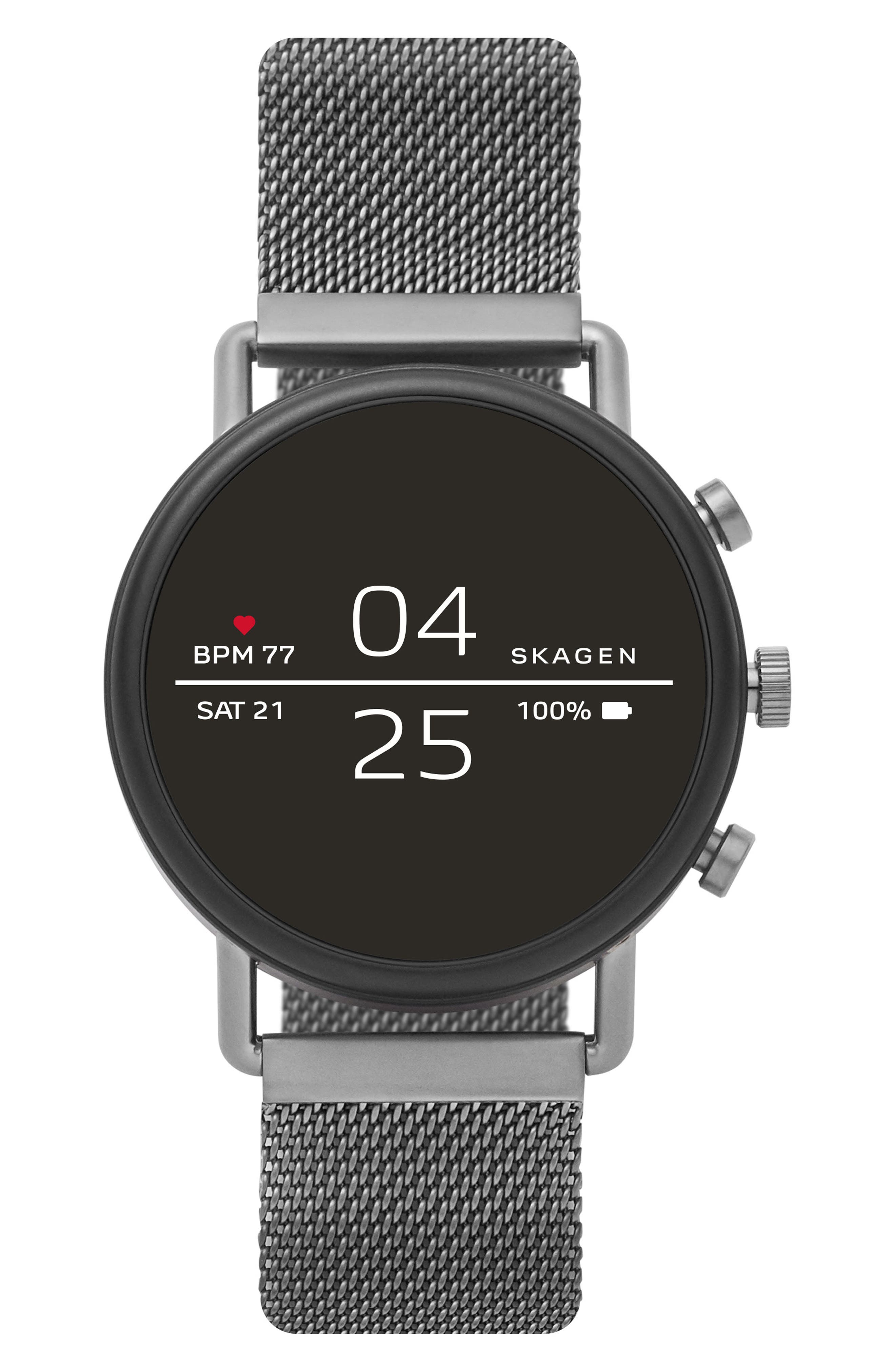 SKAGEN, Falster 2 Touchscreen Mesh Strap Smart Watch, 40mm, Alternate thumbnail 6, color, GUNMETAL