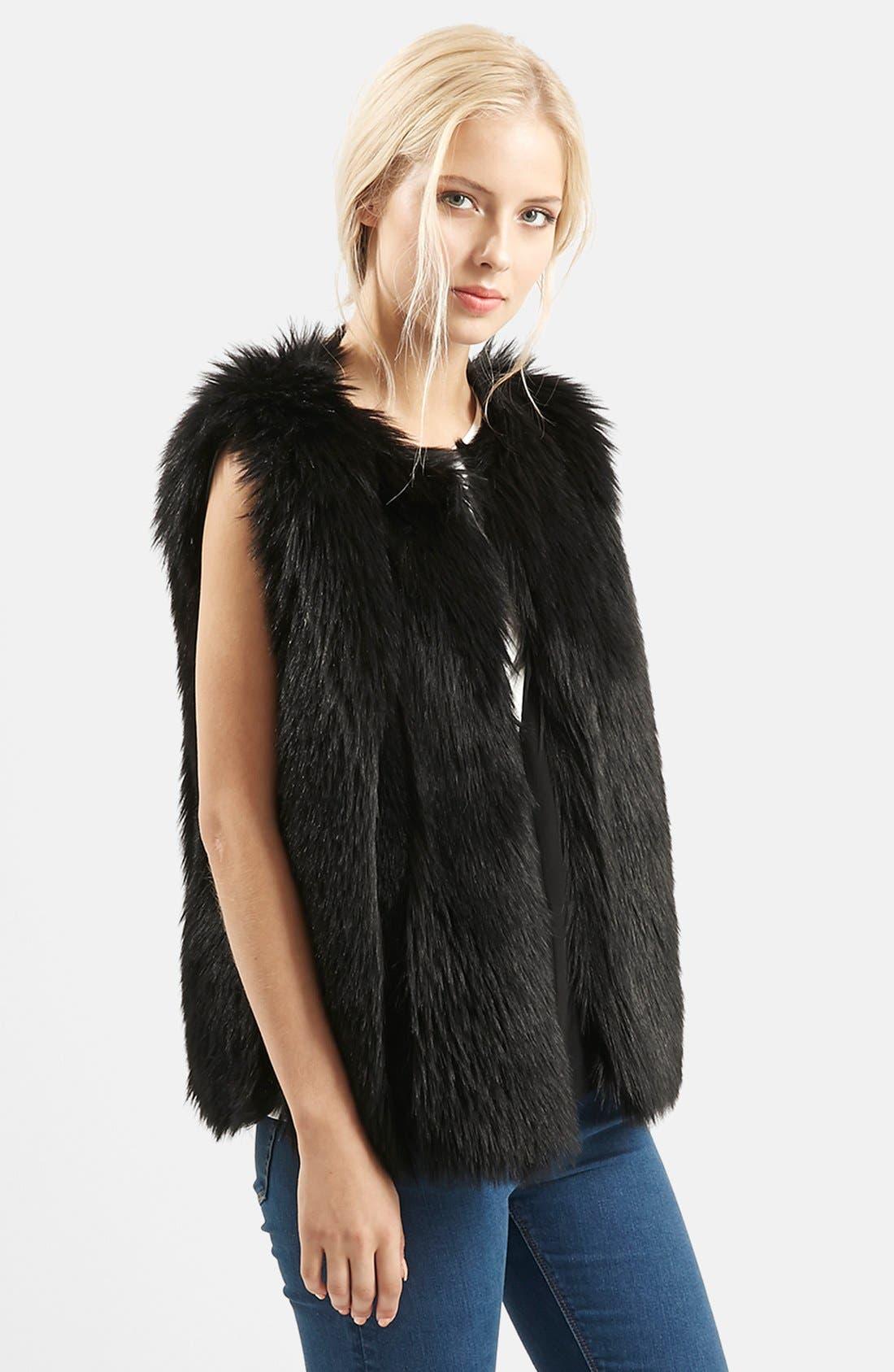 TOPSHOP 'Leah' Faux Fur Vest, Main, color, 001