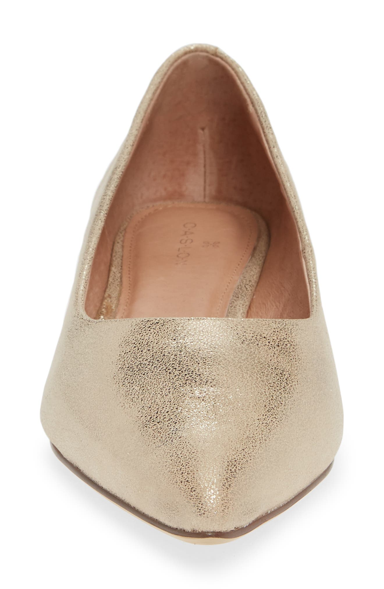 CASLON<SUP>®</SUP>, Luna Pointy Toe Flat, Alternate thumbnail 4, color, LIGHT GOLD LEATHER