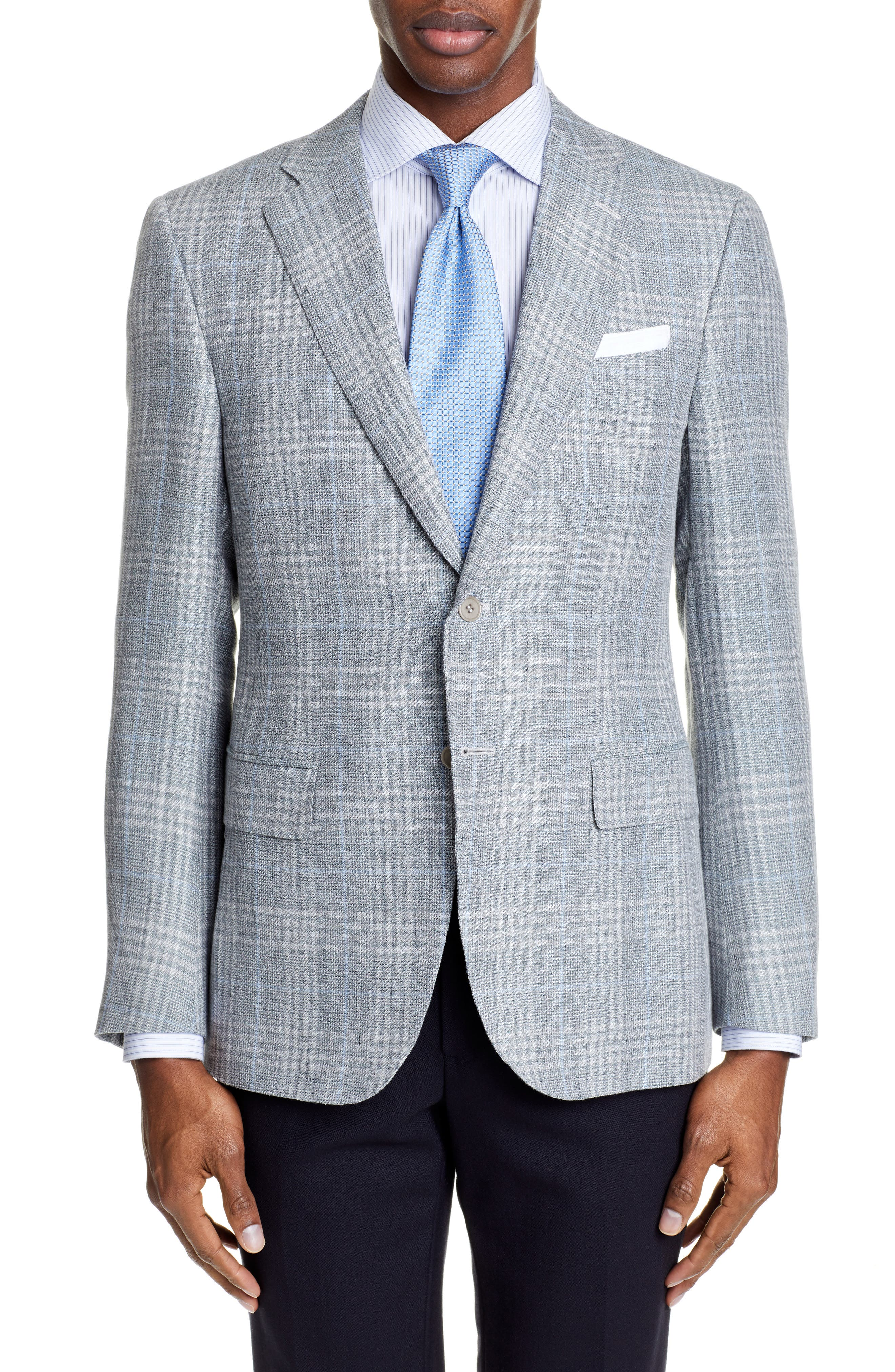 CANALI, Sienna Classic Fit Plaid Linen & Wool Sport Coat, Main thumbnail 1, color, LIGHT GREEN