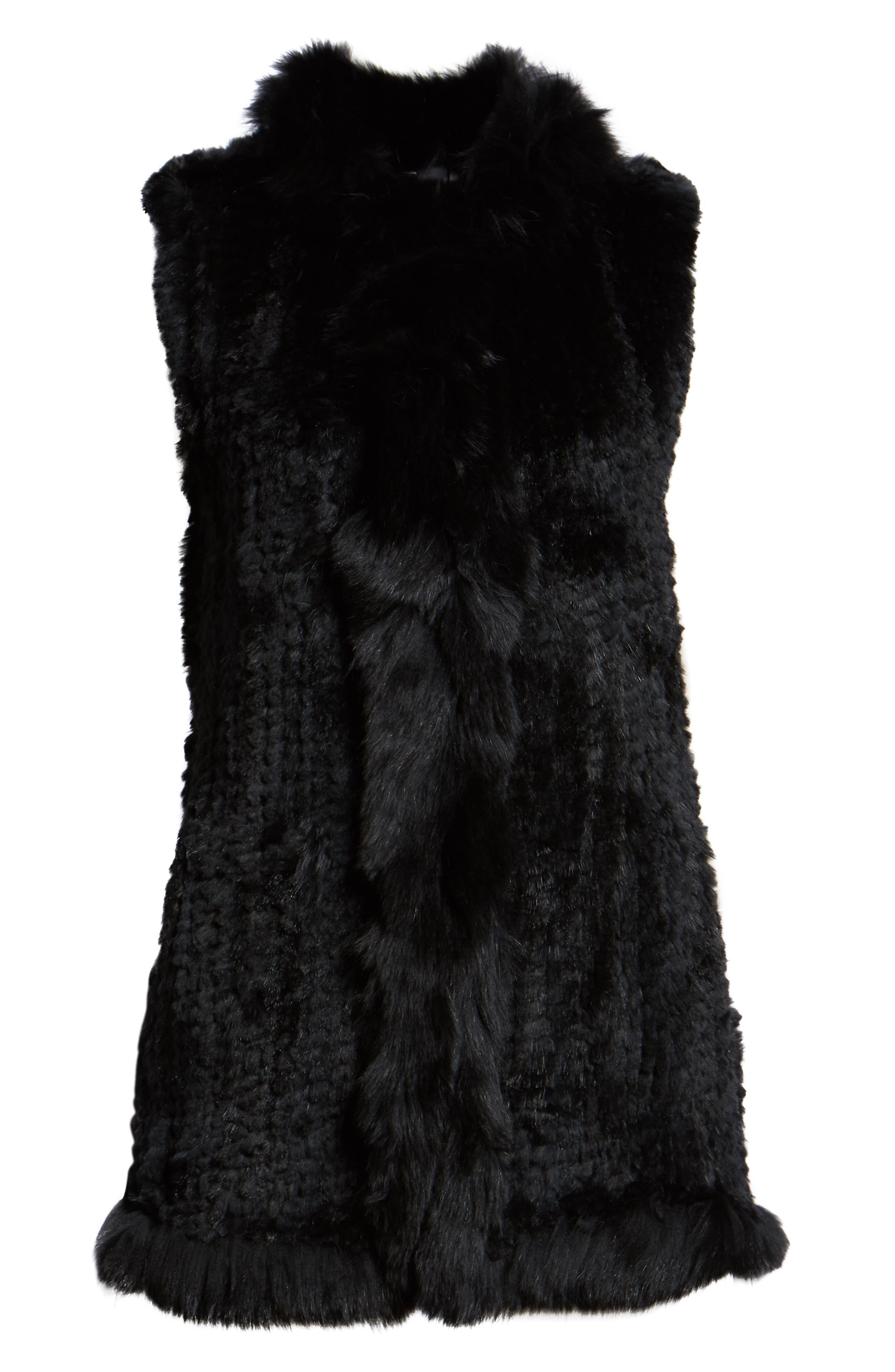 LOVE TOKEN, Genuine Rabbit Fur Vest with Genuine Fox Fur Trim, Alternate thumbnail 6, color, 001
