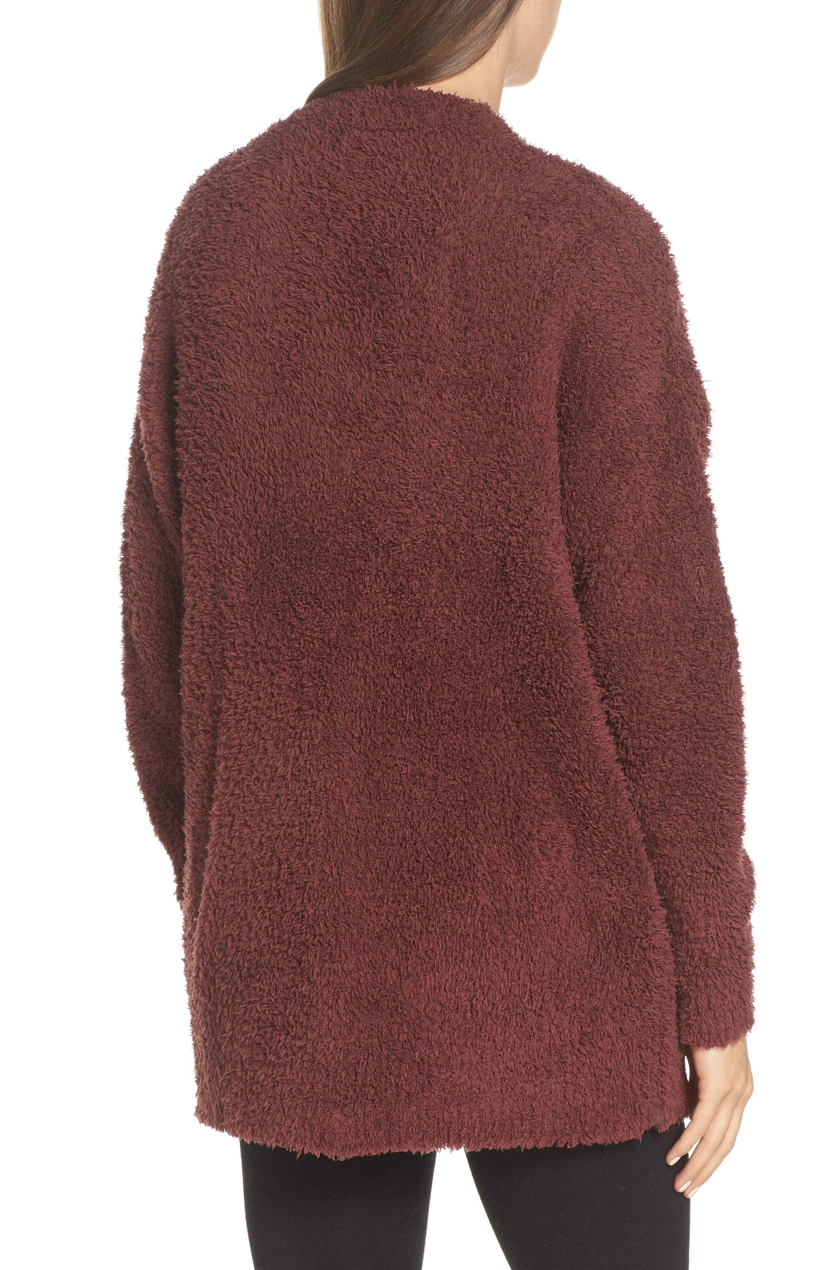 BAREFOOT DREAMS<SUP>®</SUP>, CozyChic<sup>®</sup> Cardigan, Alternate thumbnail 2, color, ROSEWOOD