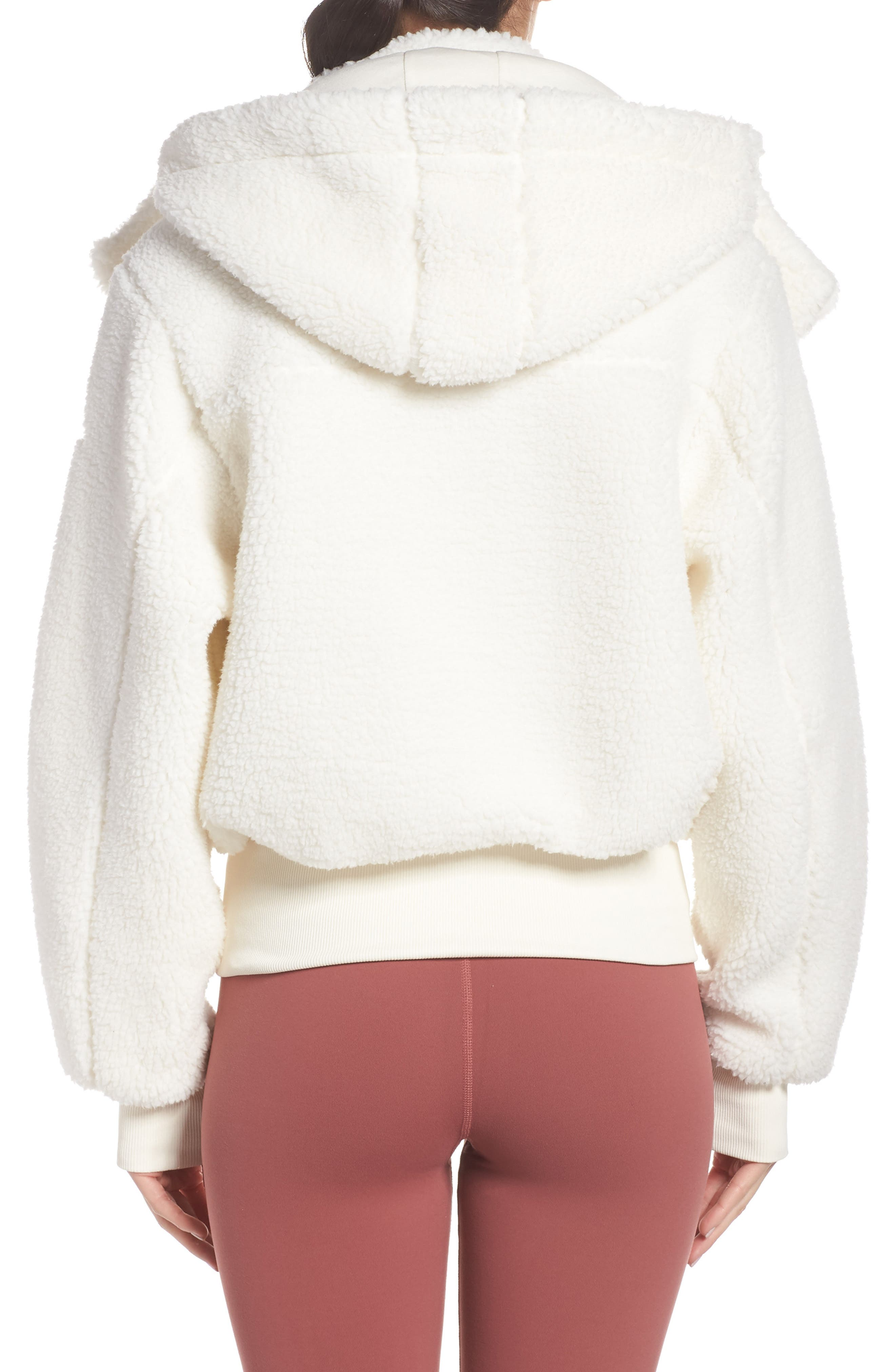 ALO, Foxy Faux Fur Jacket, Alternate thumbnail 2, color, PRISTINE