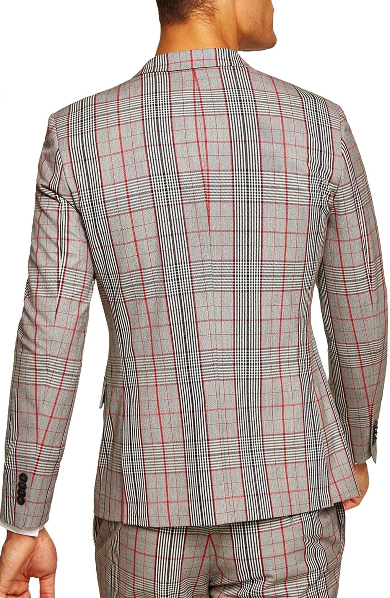 TOPMAN, Muscle Fit Check Suit Jacket, Alternate thumbnail 2, color, 020