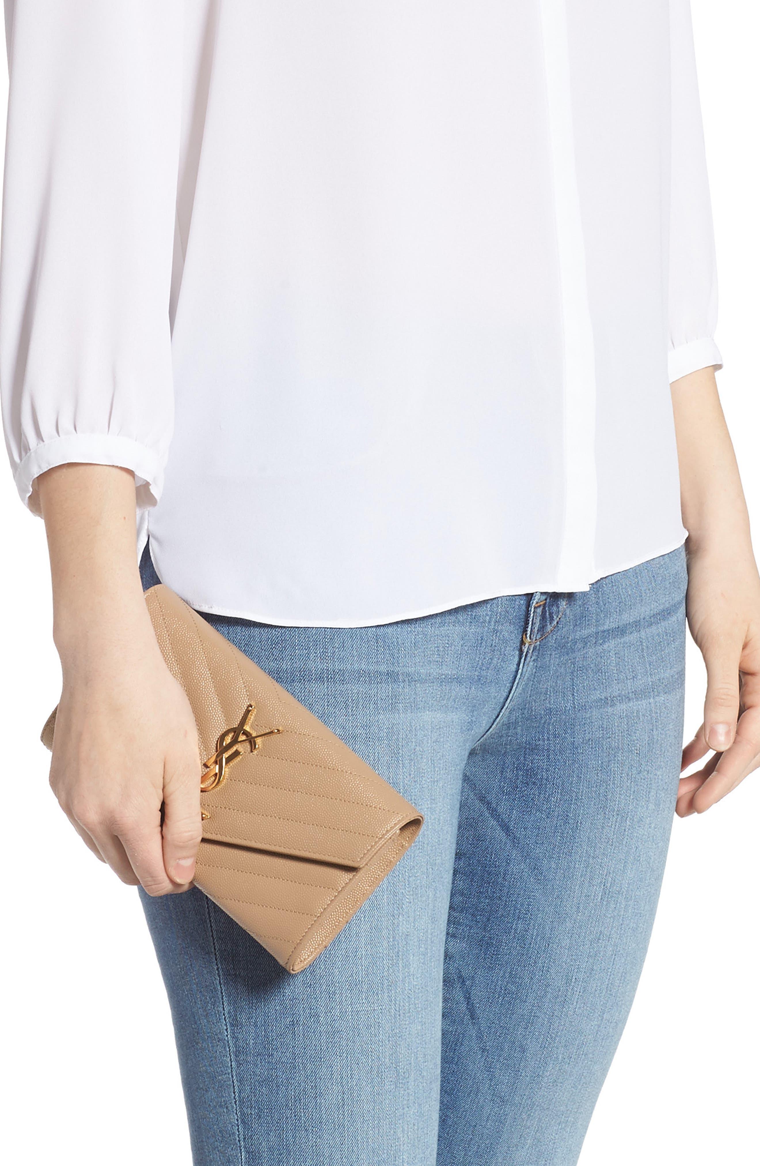 SAINT LAURENT, Monogram Logo Leather Flap Wallet, Alternate thumbnail 2, color, CHENE
