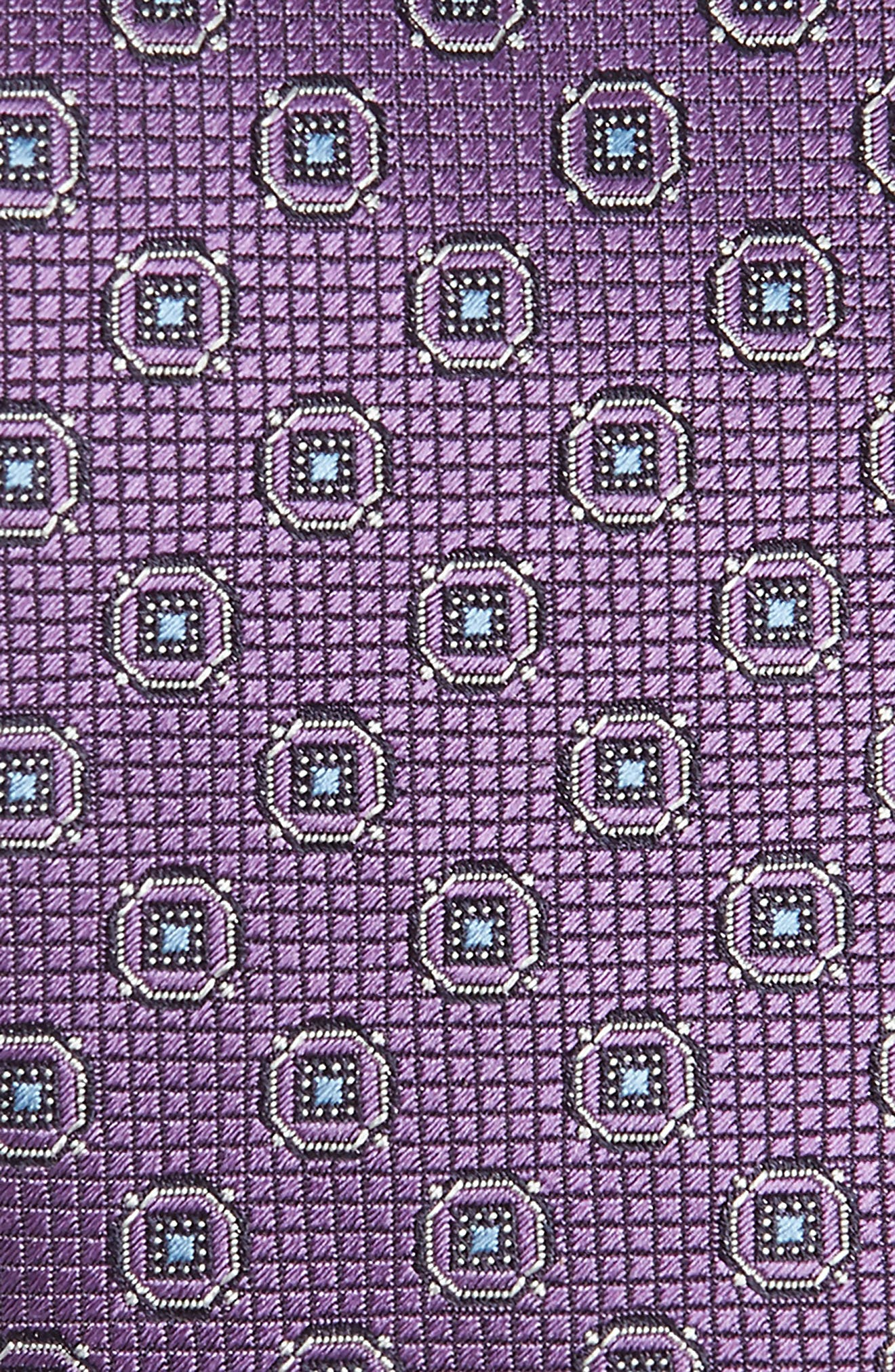 CANALI, Geometric Silk X-Long Tie, Alternate thumbnail 2, color, PURPLE