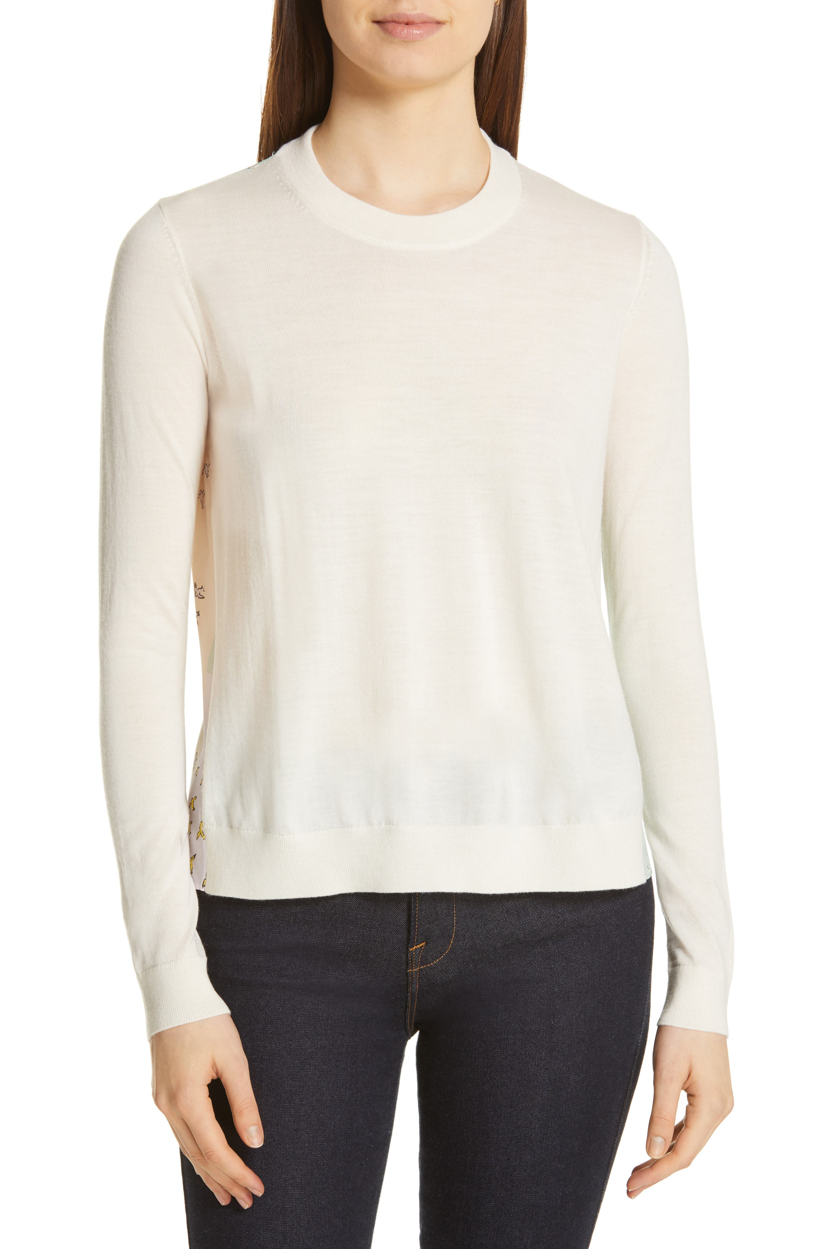 Tory Burch Silk Back Merino Wool Sweater, Ivory