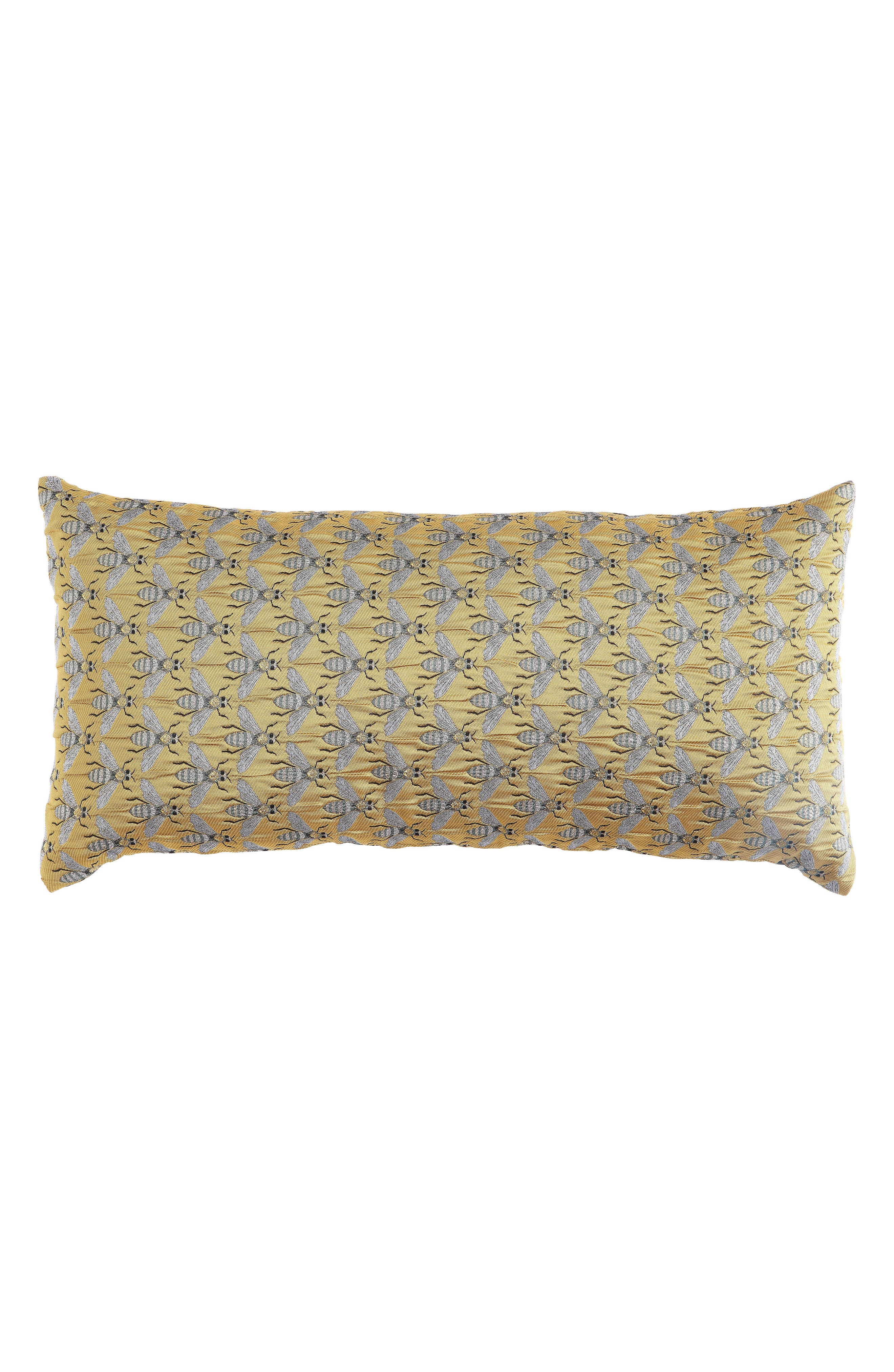 CREATIVE CO-OP Bee Accent Pillow, Main, color, YELLOW